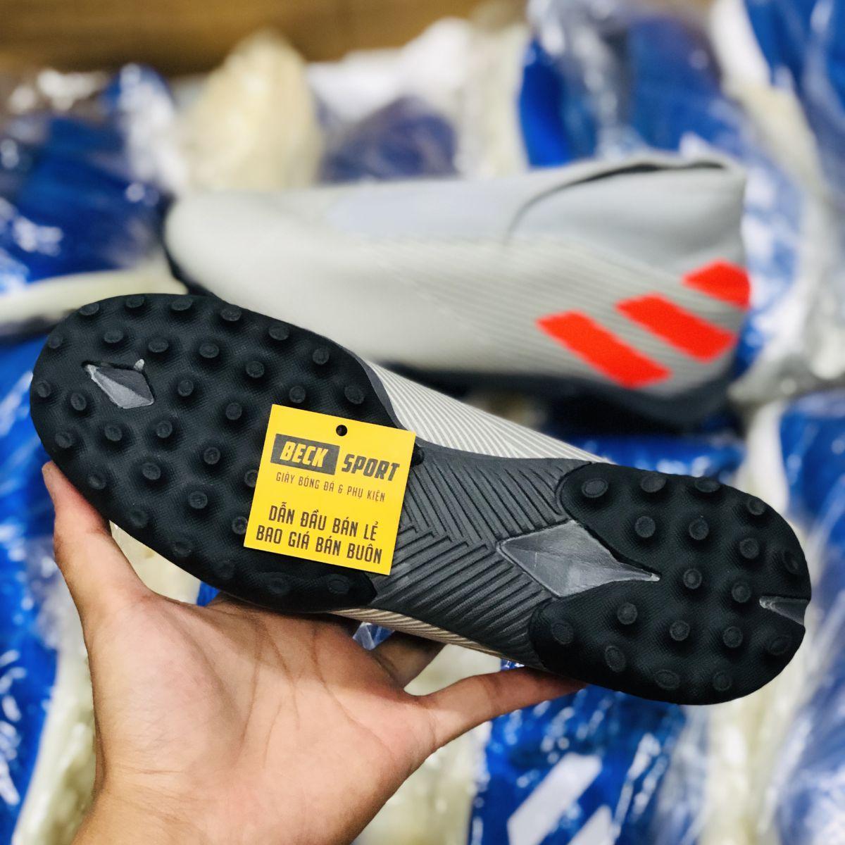 Giày Bóng Đá Adidas Nemeziz 19.3 Laceless Xám Vạch Cam Cao Cổ Không Dây HQ TF