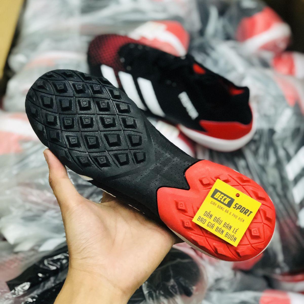Giày Bóng Đá Adidas Predator 20.3 Đen Gót Đỏ Vạch Trắng Cổ Lửng HQ TF