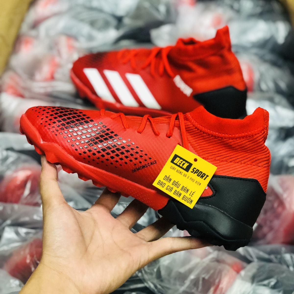 Giày Bóng Đá Adidas Predator 20.3 Đỏ Vạch Trắng Cổ Cao TF