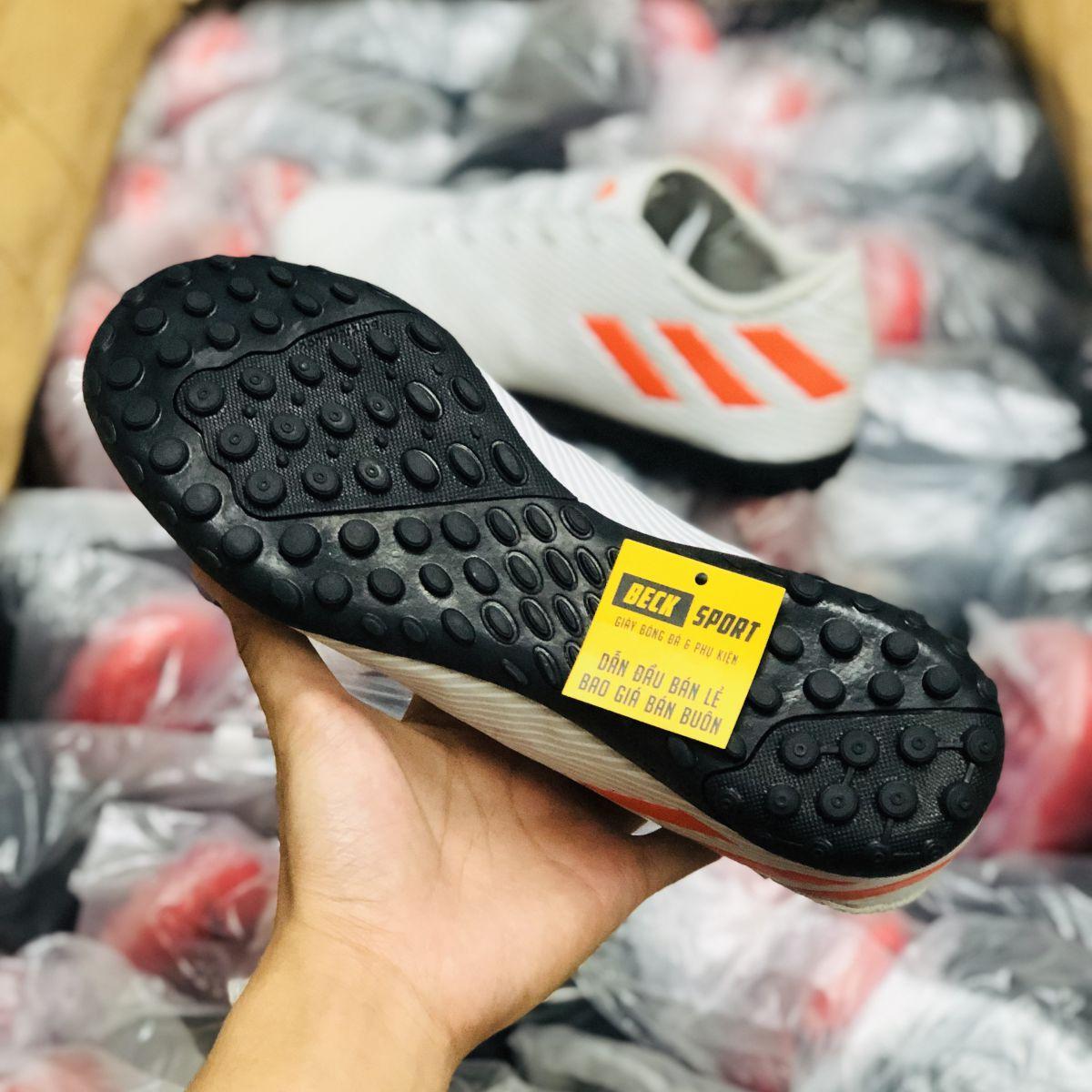 Giày Bóng Đá Adidas Nemeziz 19.4 Xám Trắng Vạch Cam Đế Đen TF
