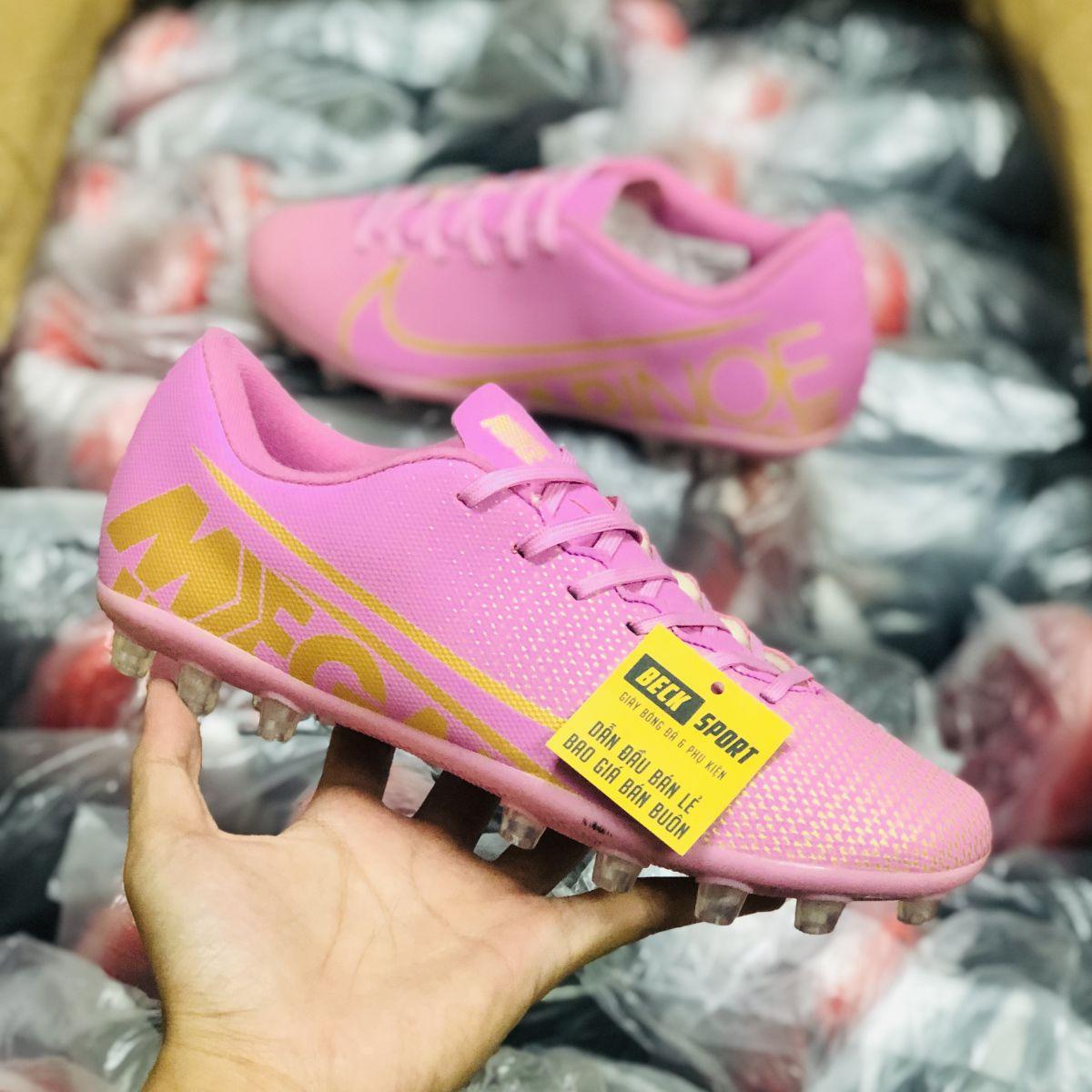 Giày Bóng Đá Nike Mercurial 13 Academy Hồng Vạch Vàng AG