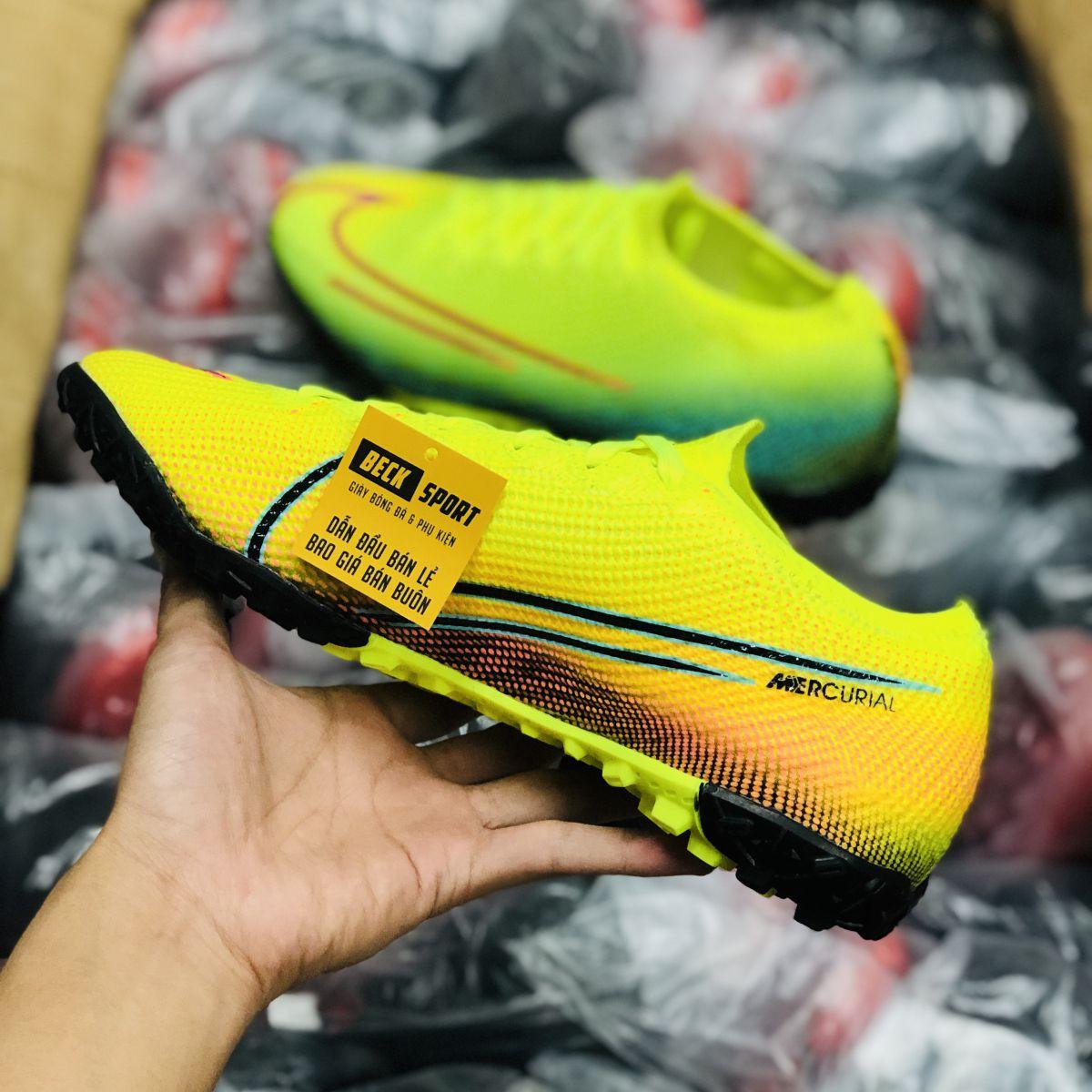 Giày Bóng Đá Nike Mercurial Dream Speed Vapor 13 Elite Nõn Chuối Xanh Ngọc Vạch Đen TF