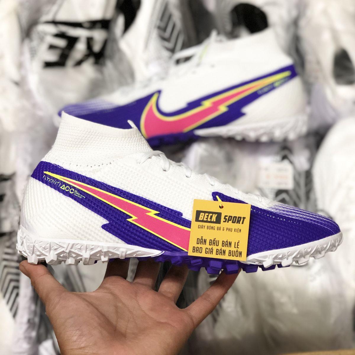 Giày Bóng Đá Nike Mercurial Superfly 7 Elite Trắng Tím Vạch Hồng Cổ Cao TF