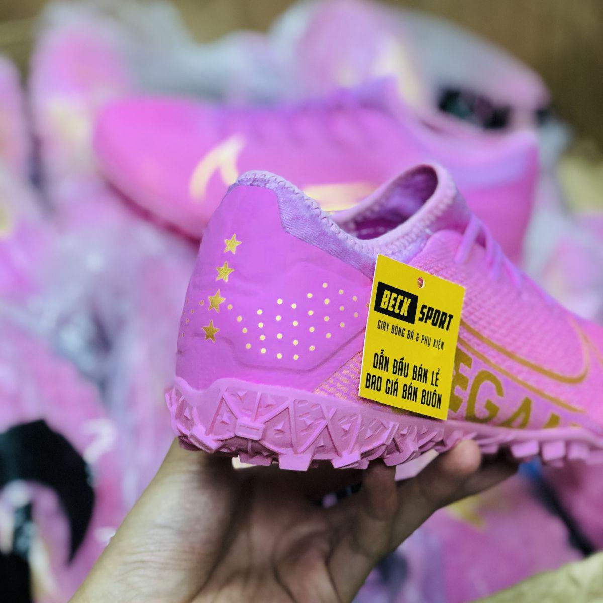 Giày Bóng Đá Nike Mercurial Vapor 13 Pro Hồng Vạch Vàng TF