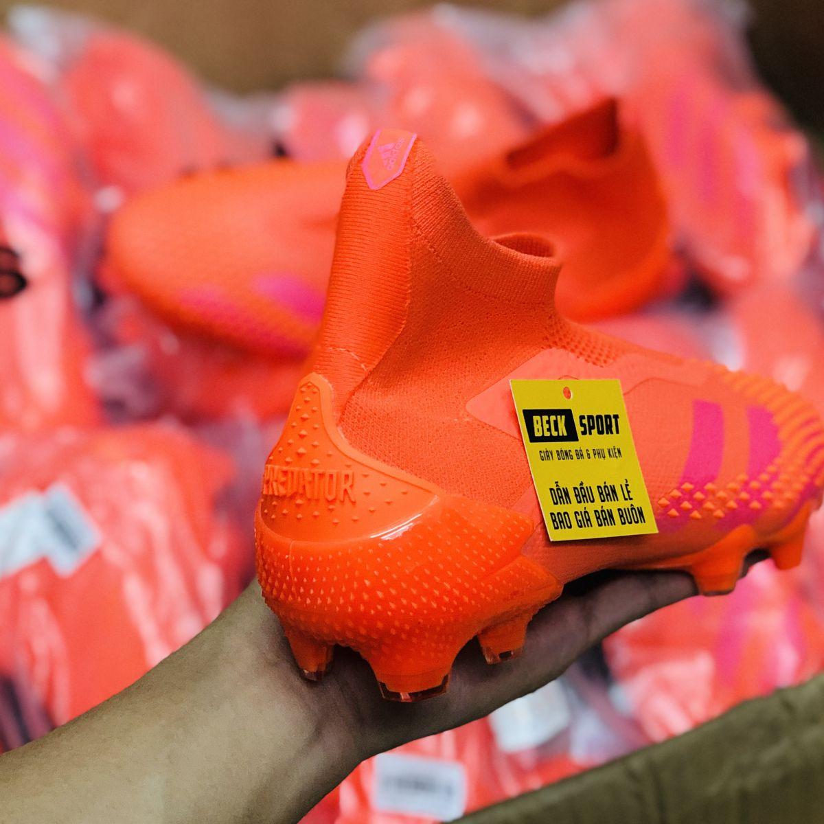 Giày Bóng Đá Adidas Predator 20+ Locality Đỏ Cam Không Dây Cao Cổ FG