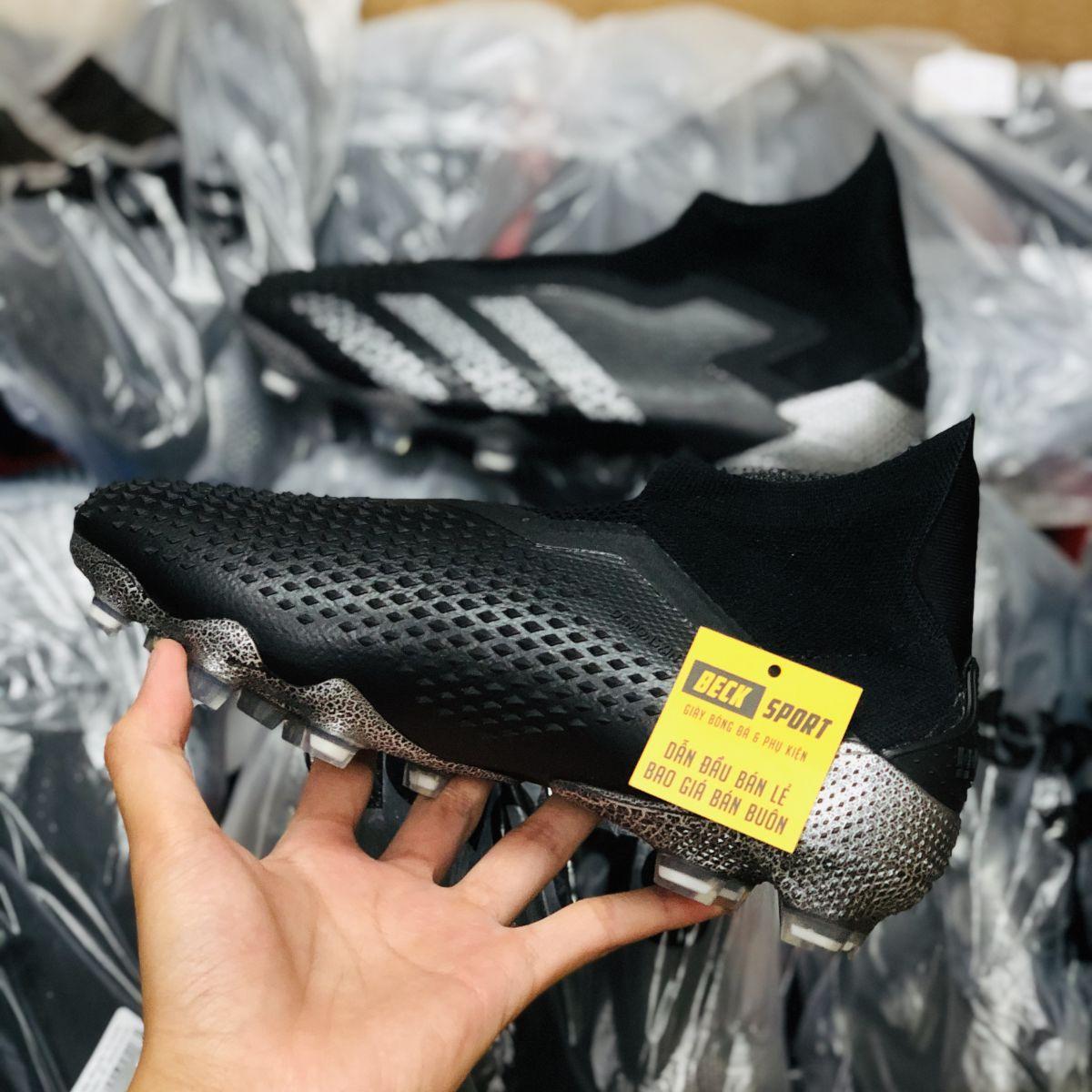 Giày Bóng Đá Adidas Predator 20+ Shadowbeast Đen Tuyền Không Dây Cao Cổ FG