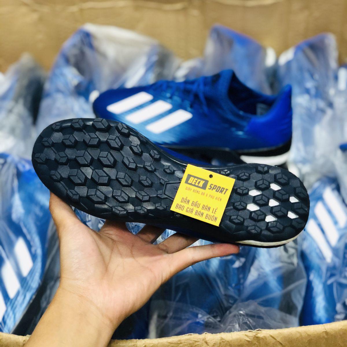 Giày Bóng Đá Adidas X 19.1 Xanh Biển vạch Trắng Đế Đen TF