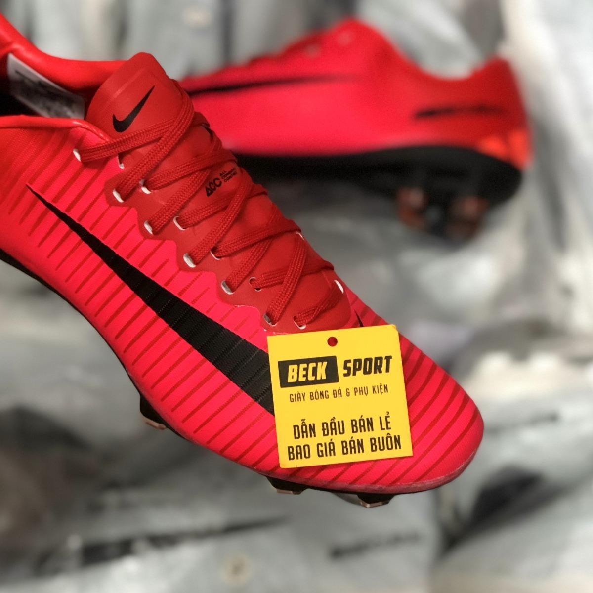 Giày Bóng Đá Trẻ Em Nike Mercurial Victory VI Đỏ Vạch Đen Lưỡi Gà Liền FG