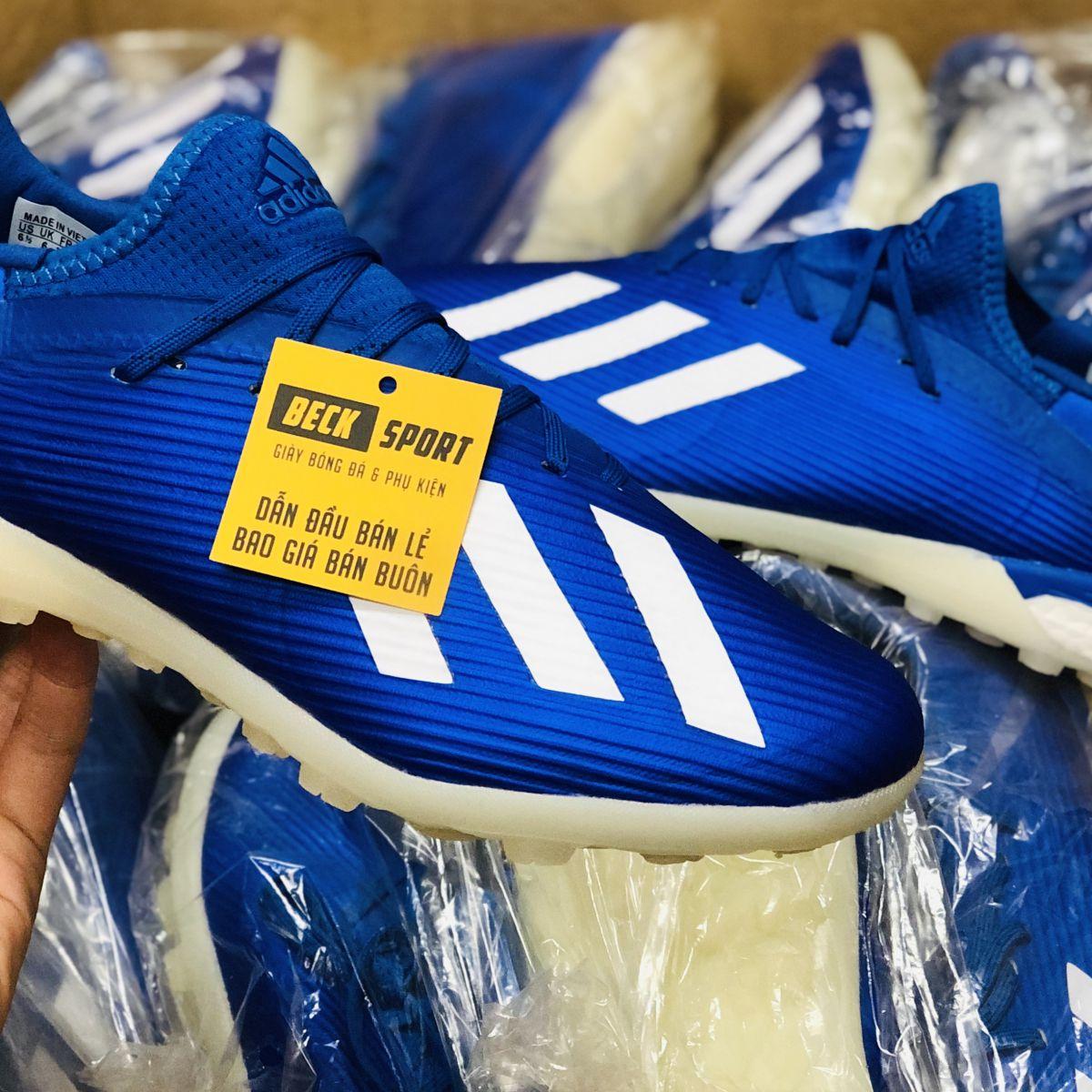Giày Bóng Đá Adidas X 19.1 Xanh Biển vạch Trắng Đế Trắng TF