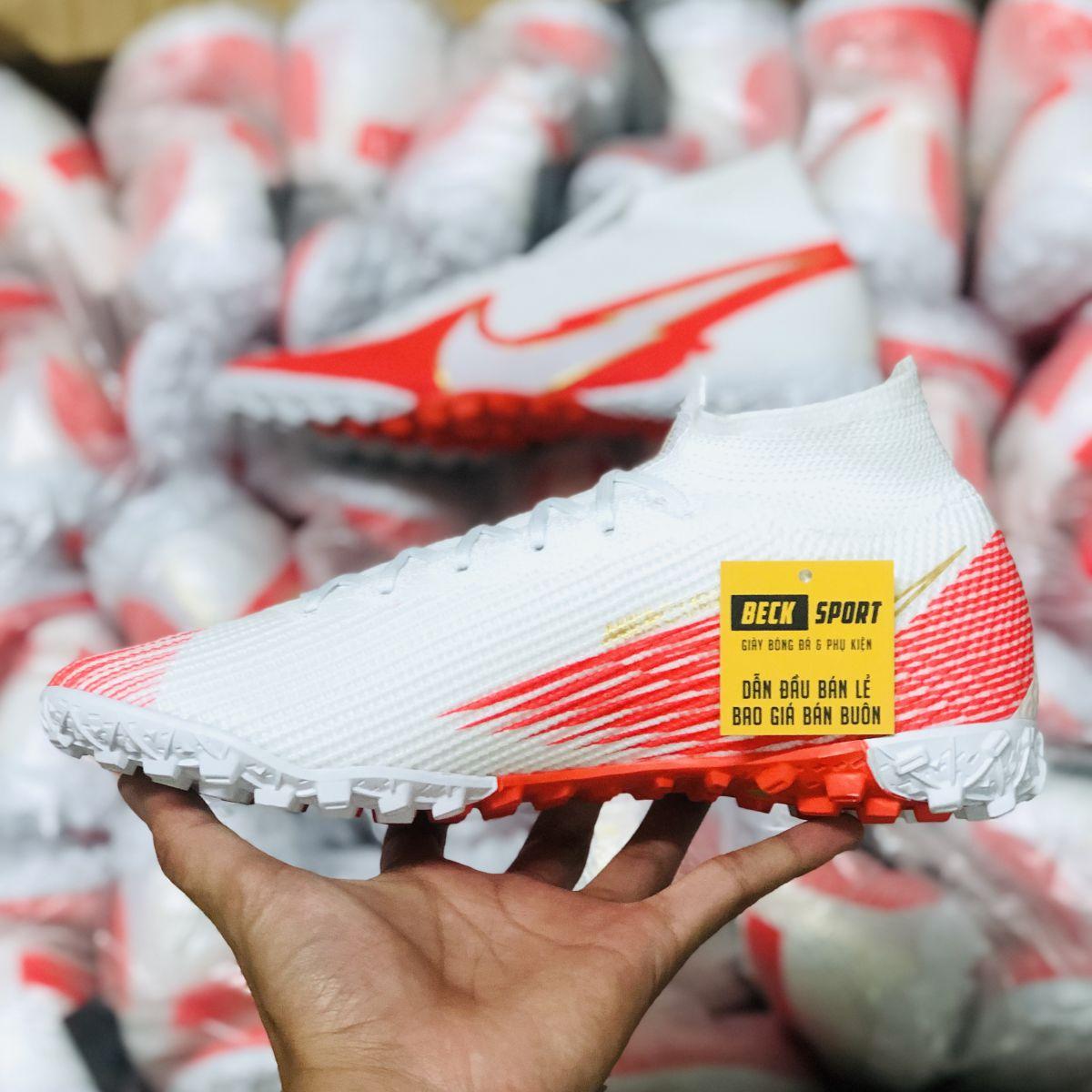 Giày Bóng Đá Nike Mercurial Superfly 7 Elite Trắng  Đỏ Vạch Trắng Cổ Cao TF