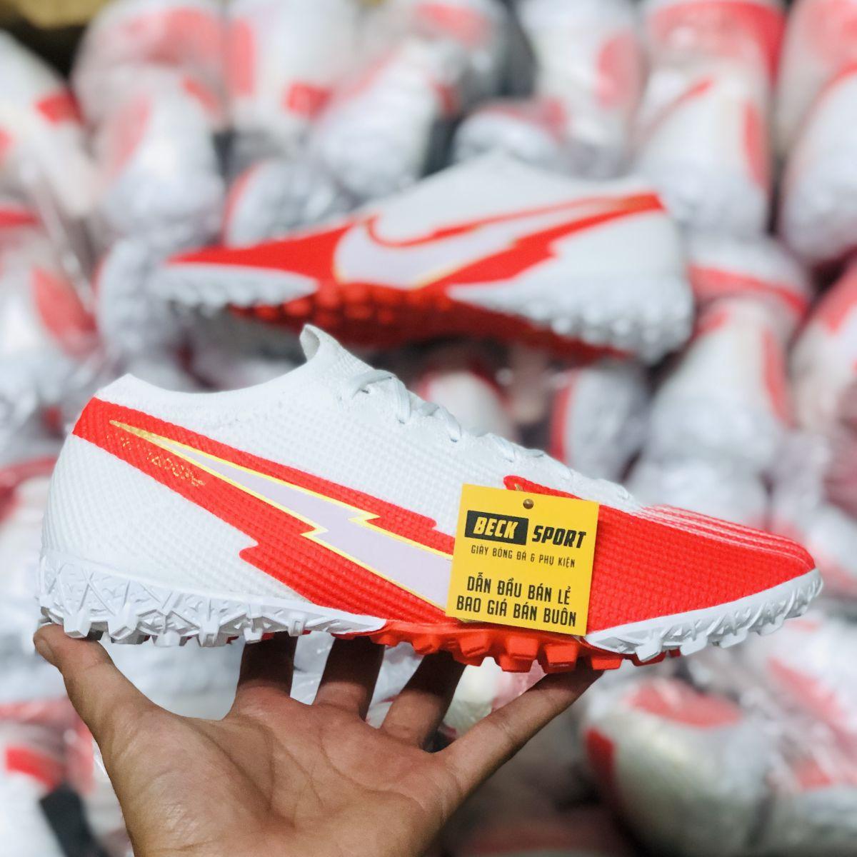 Giày Bóng Đá Nike Mercurial Vapor 13 Elite Trắng  Đỏ Vạch Trắng Cổ Lửng TF
