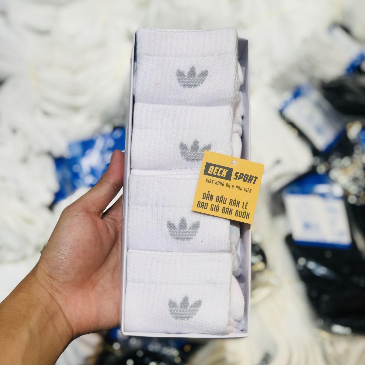 Tất Hộp 4 Đôi Adidas Cổ Thấp ( Logo 3 Lá Trơn ) - Trắng