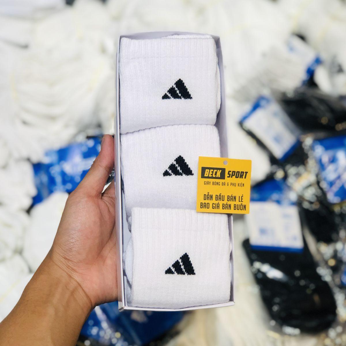 Tất Hộp 3 Đôi Adidas Cổ Lửng Dài ( Logo 3 Vạch ) - Trắng