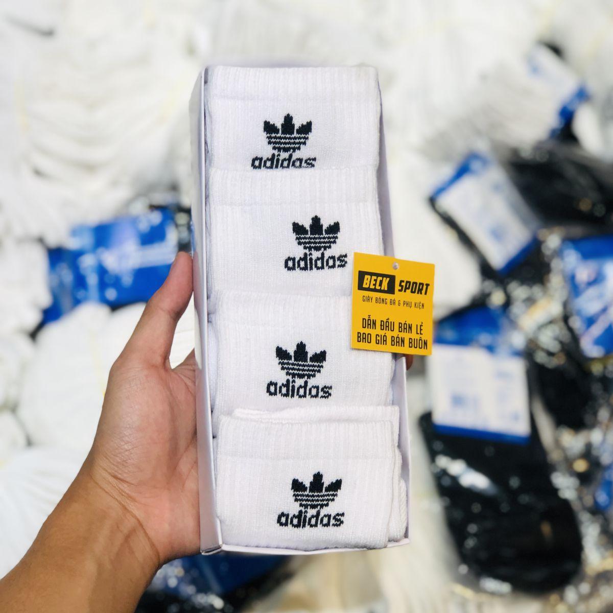 Tất Hộp 4 Đôi Adidas Cổ Thấp ( Logo 3 Lá Chữ ) - Trắng