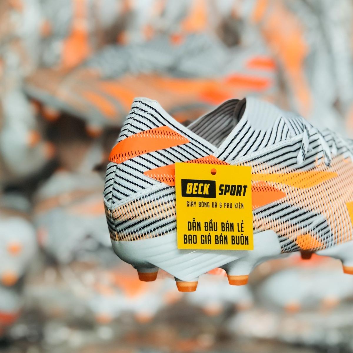 Giày Bóng Đá Adidas Nemeziz 21.1 Trắng Đen Vạch Cam FG