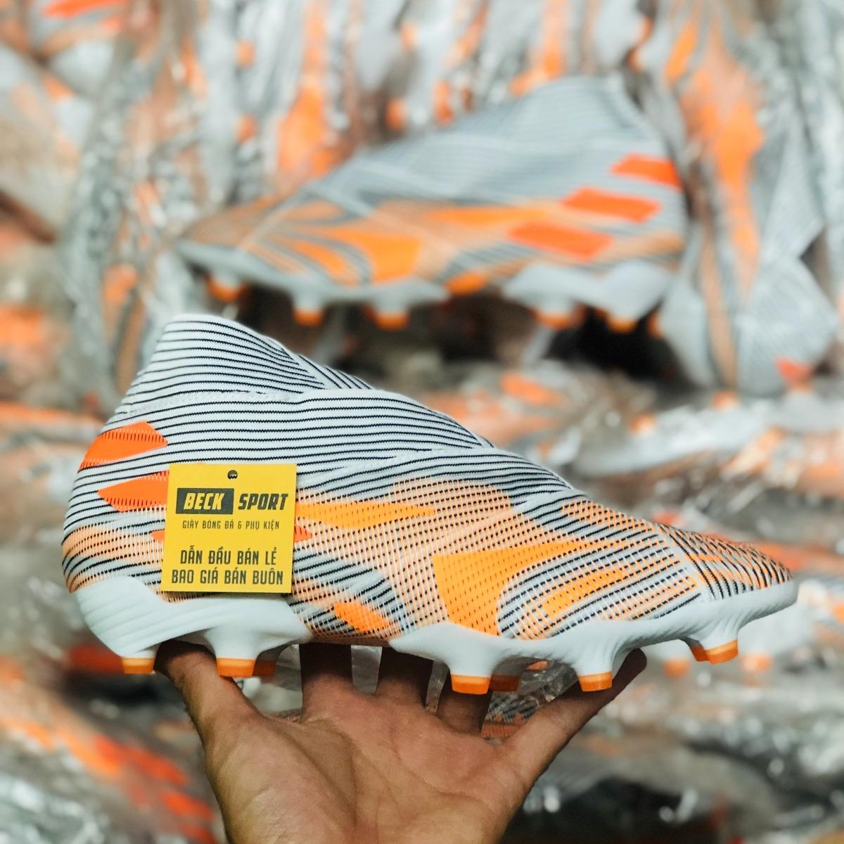 Giày Bóng Đá Adidas Nemeziz 21+ Trắng Đen Vạch Cam Không Dây Cổ Cao FG
