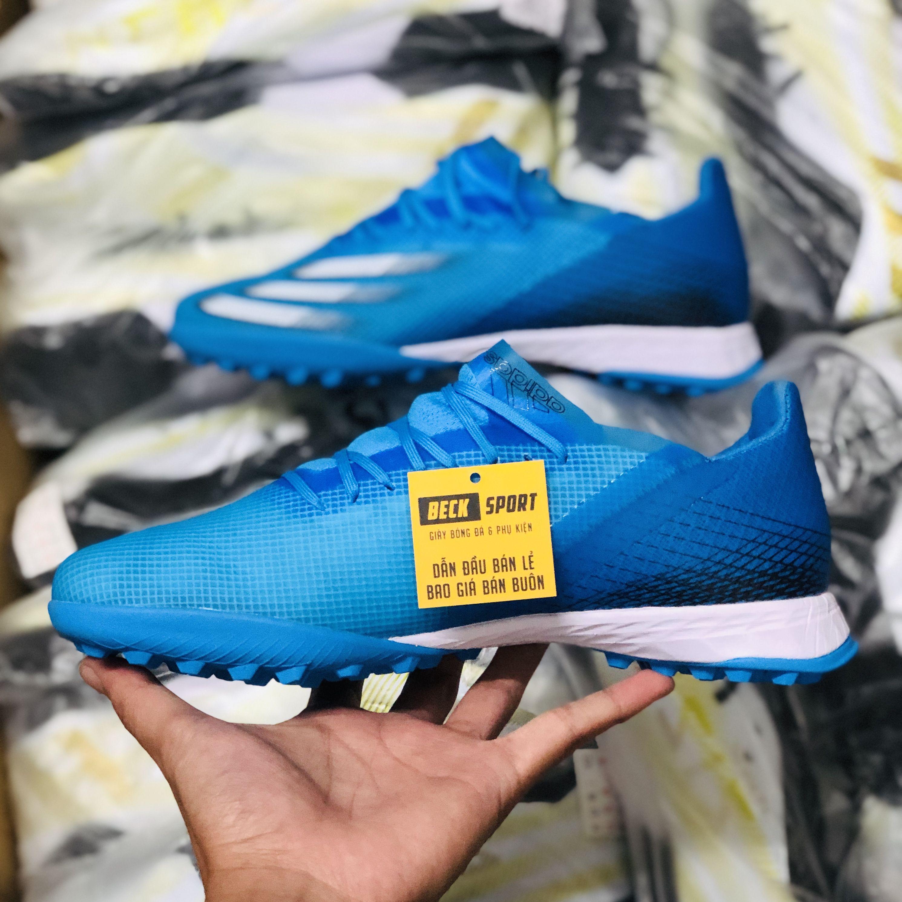 Giày Bóng Đá Adidas X Ghosted.1 Xanh Biển Vạch Trắng TF