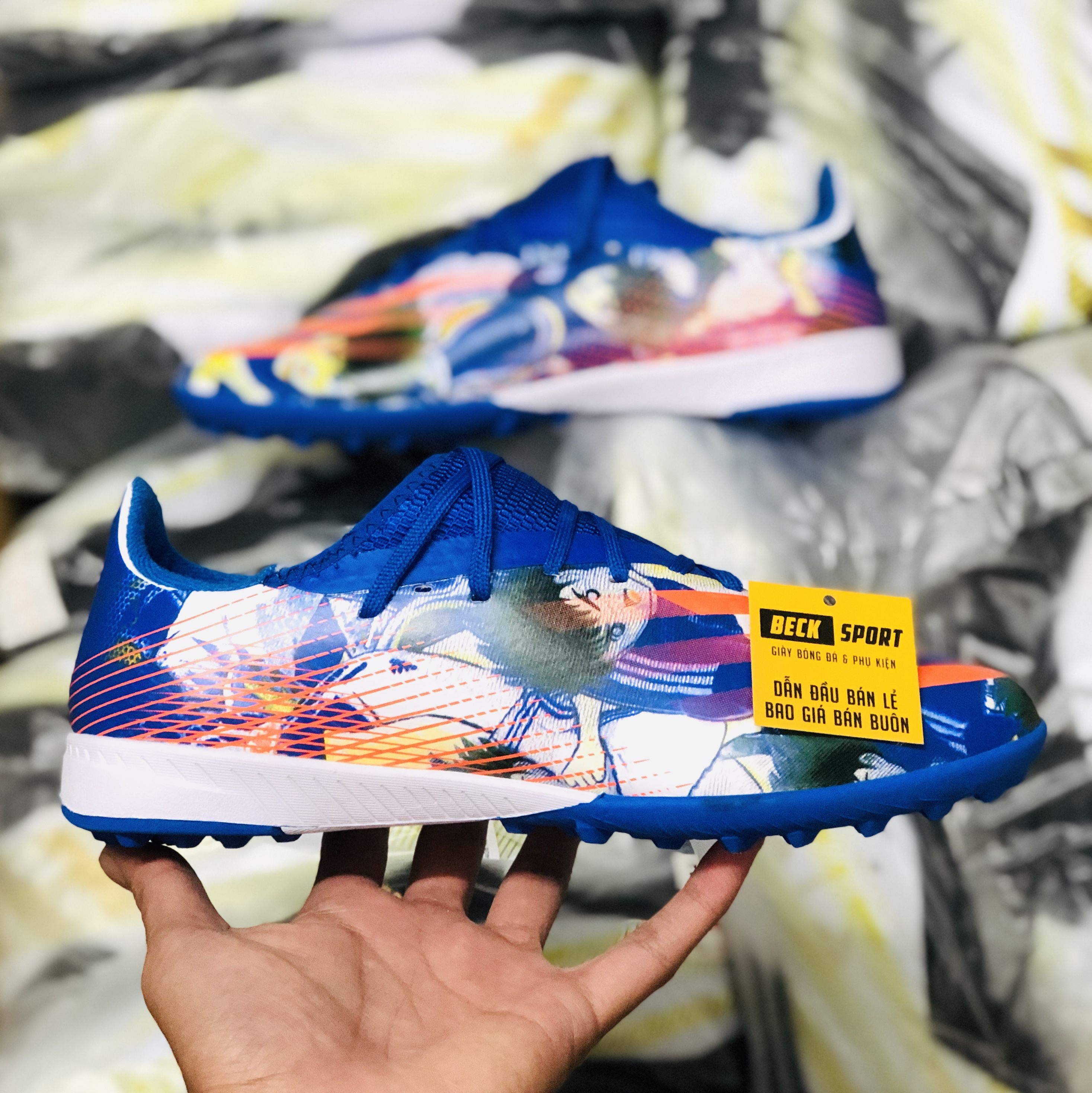 Giày Bóng Đá Adidas X Ghosted.3 Tsubasa Xanh Biển Vạch Cam V2 TF