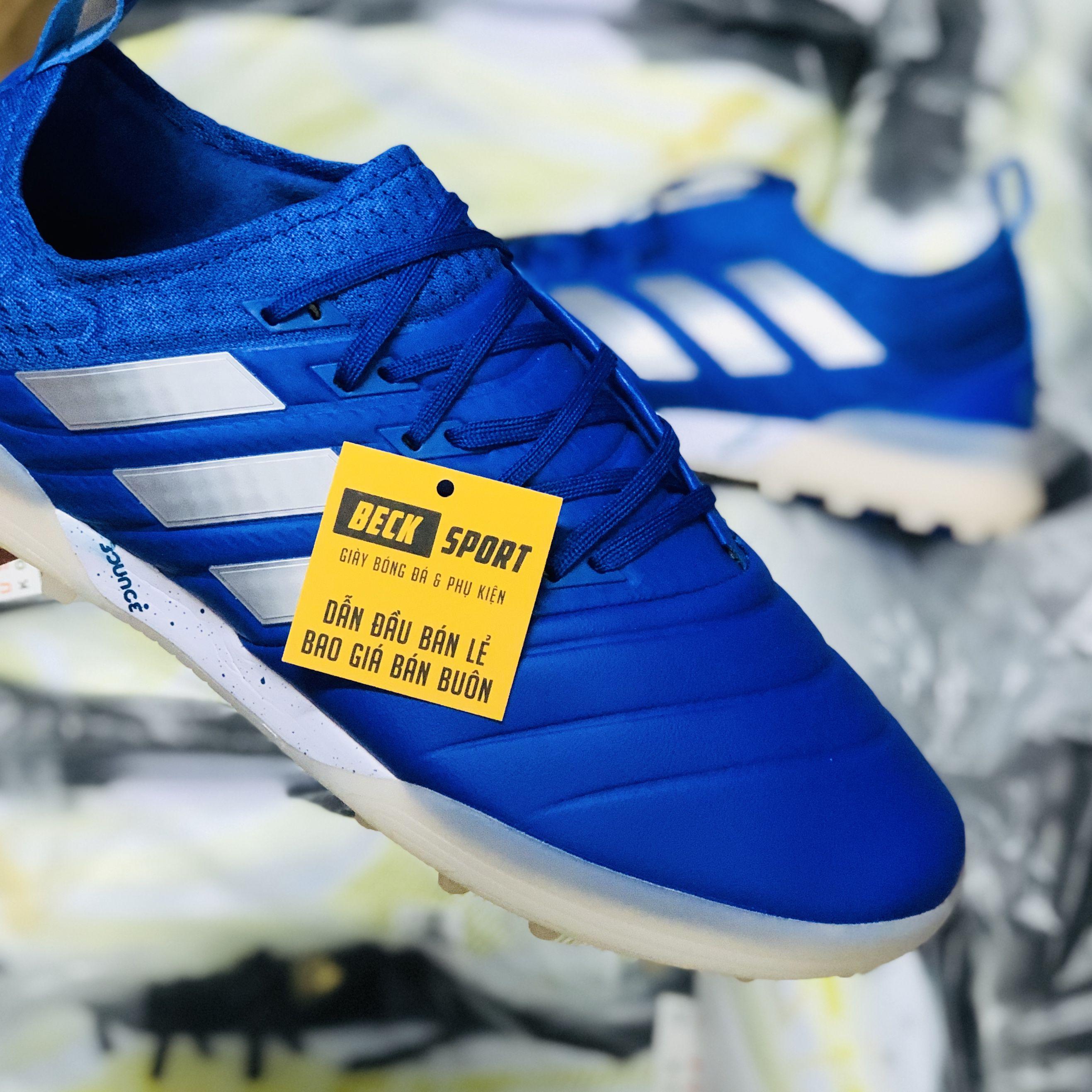Giày Bóng Đá Adidas Copa 20.1 Xanh Biển Vạch Trắng TF