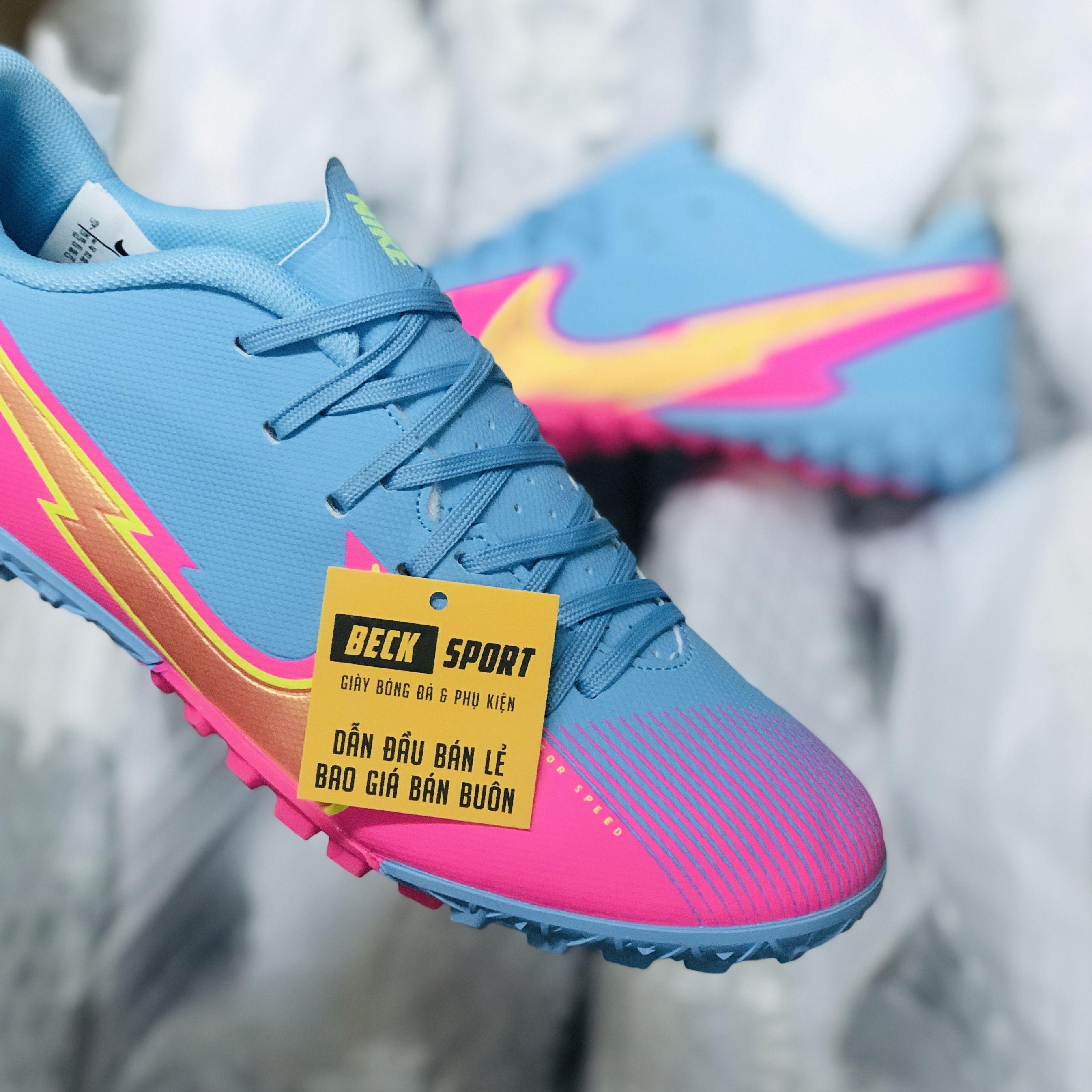 Giày Bóng Đá Nike Mercurial Vapor 13 Academy Xanh Biển Hồng Vạch Vàng V2 TF