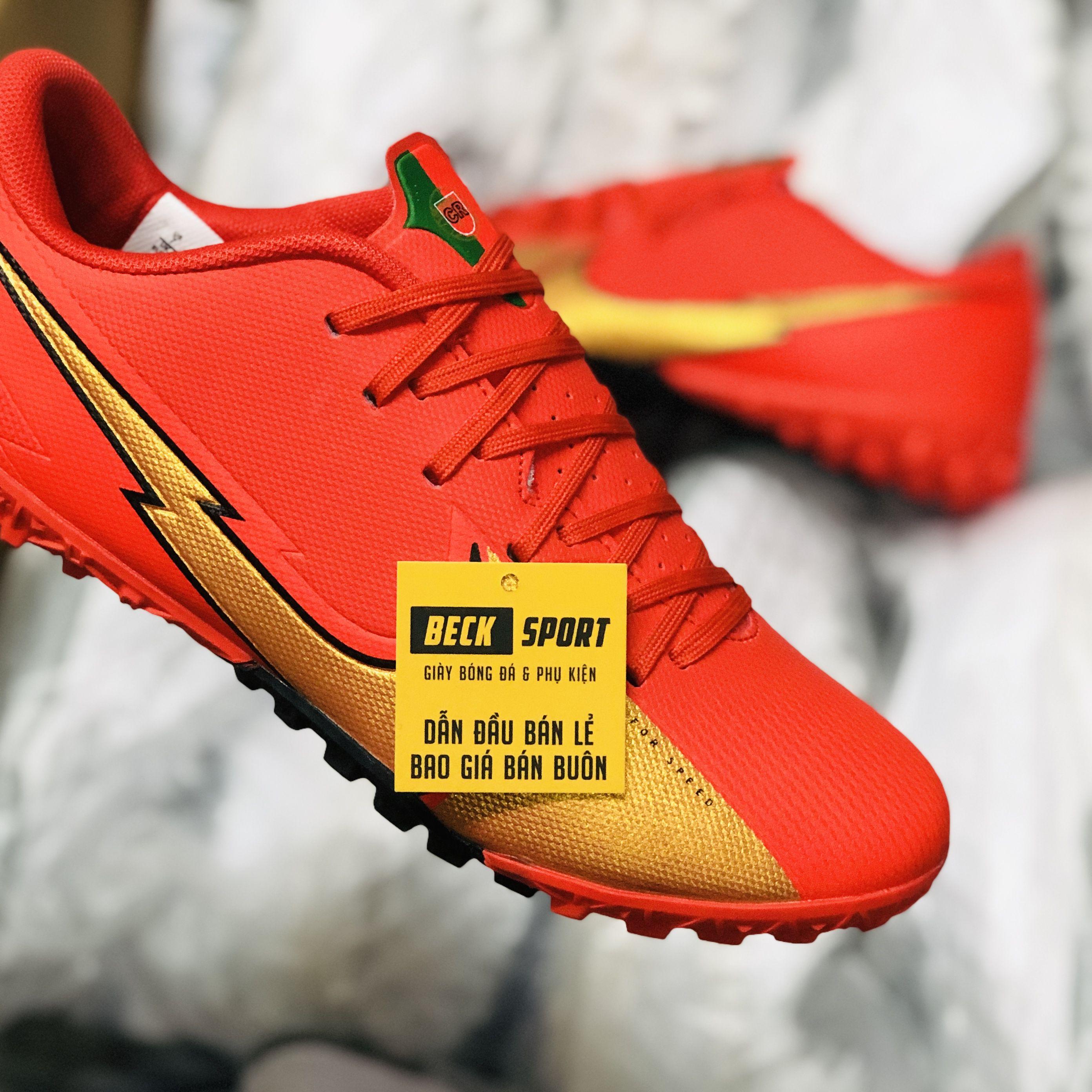 Giày Bóng Đá Nike Mercurial Vapor 13 Academy CR7 Đỏ Vạch Vàng V2 TF