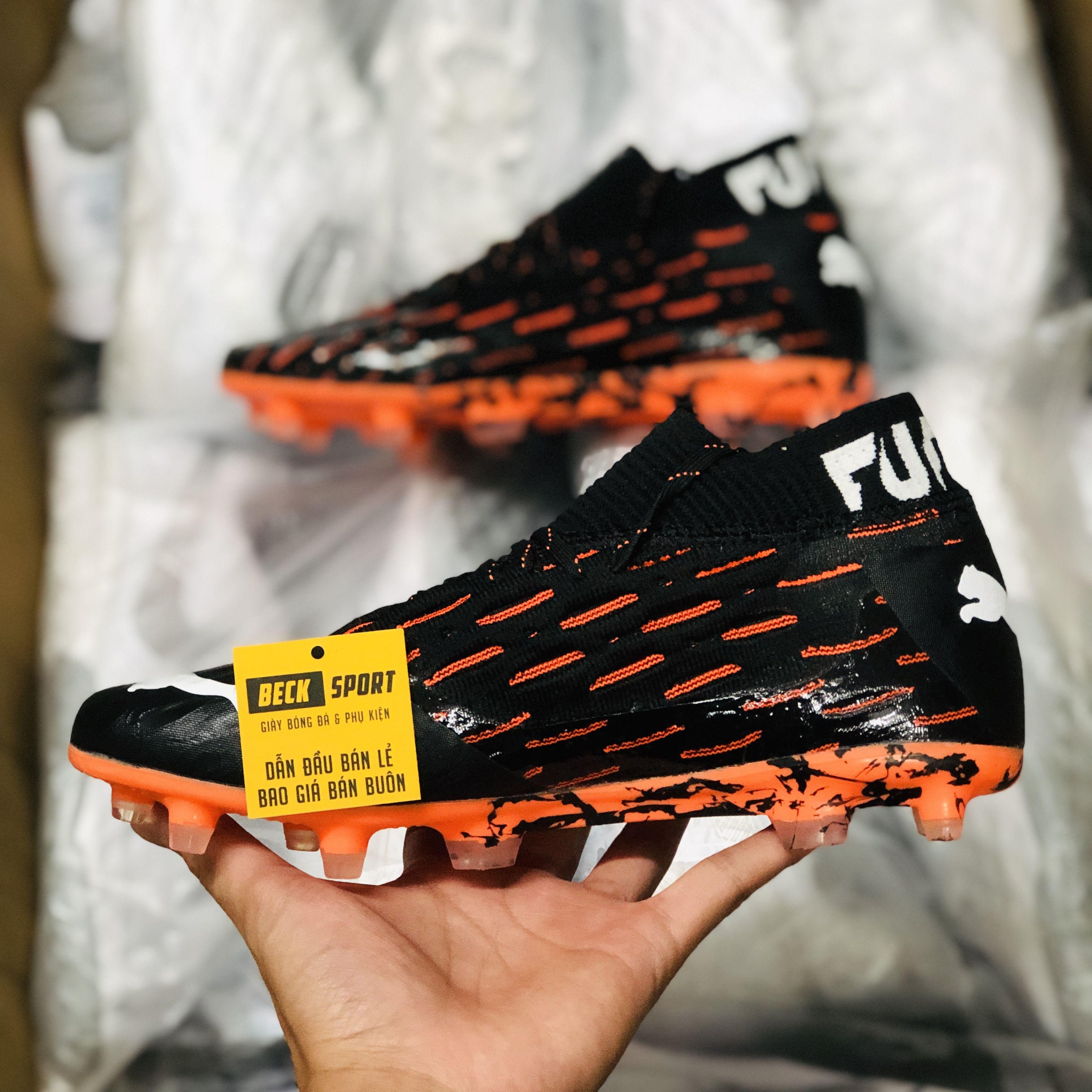 Giày Bóng Đá Puma Future 5.1 Netfit Đen Đế Cam Cổ Lửng FG