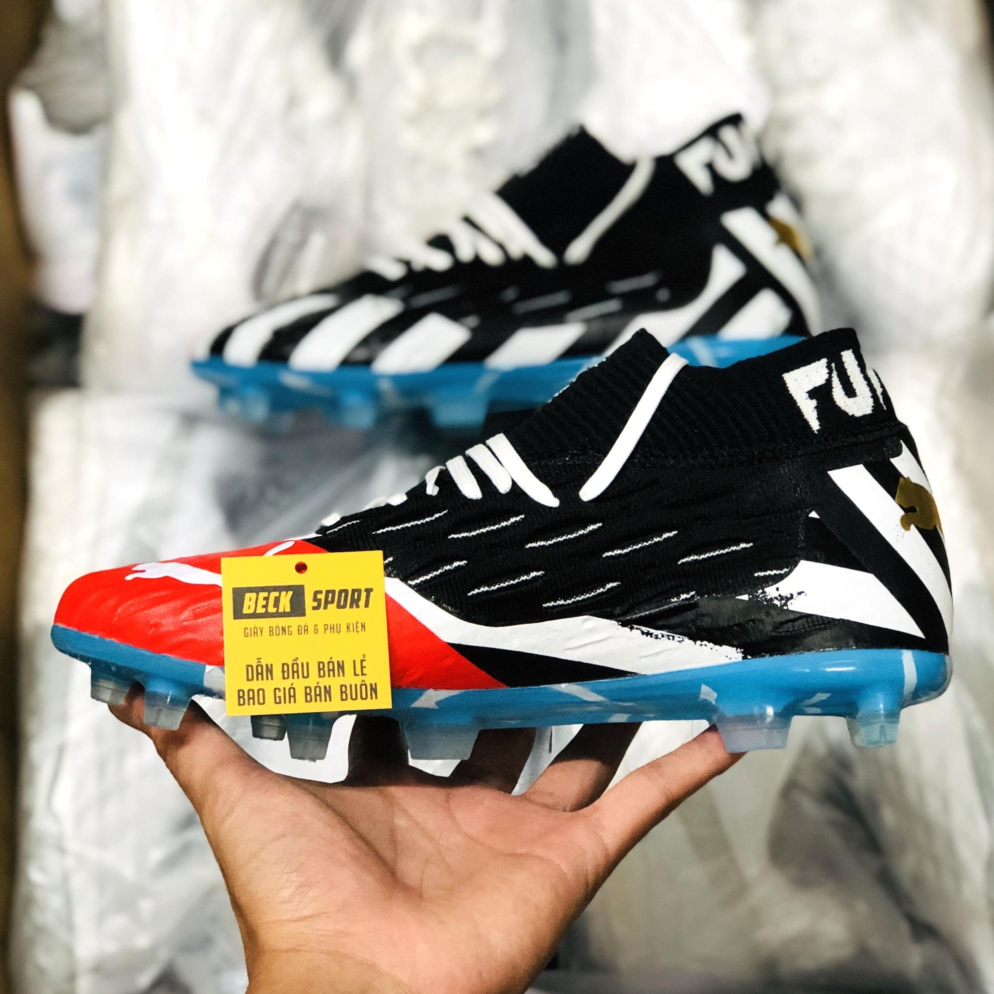 Giày Bóng Đá Puma Future 5.1 Netfit Đen Trắng Đế Xanh Biển Cổ Lửng FG