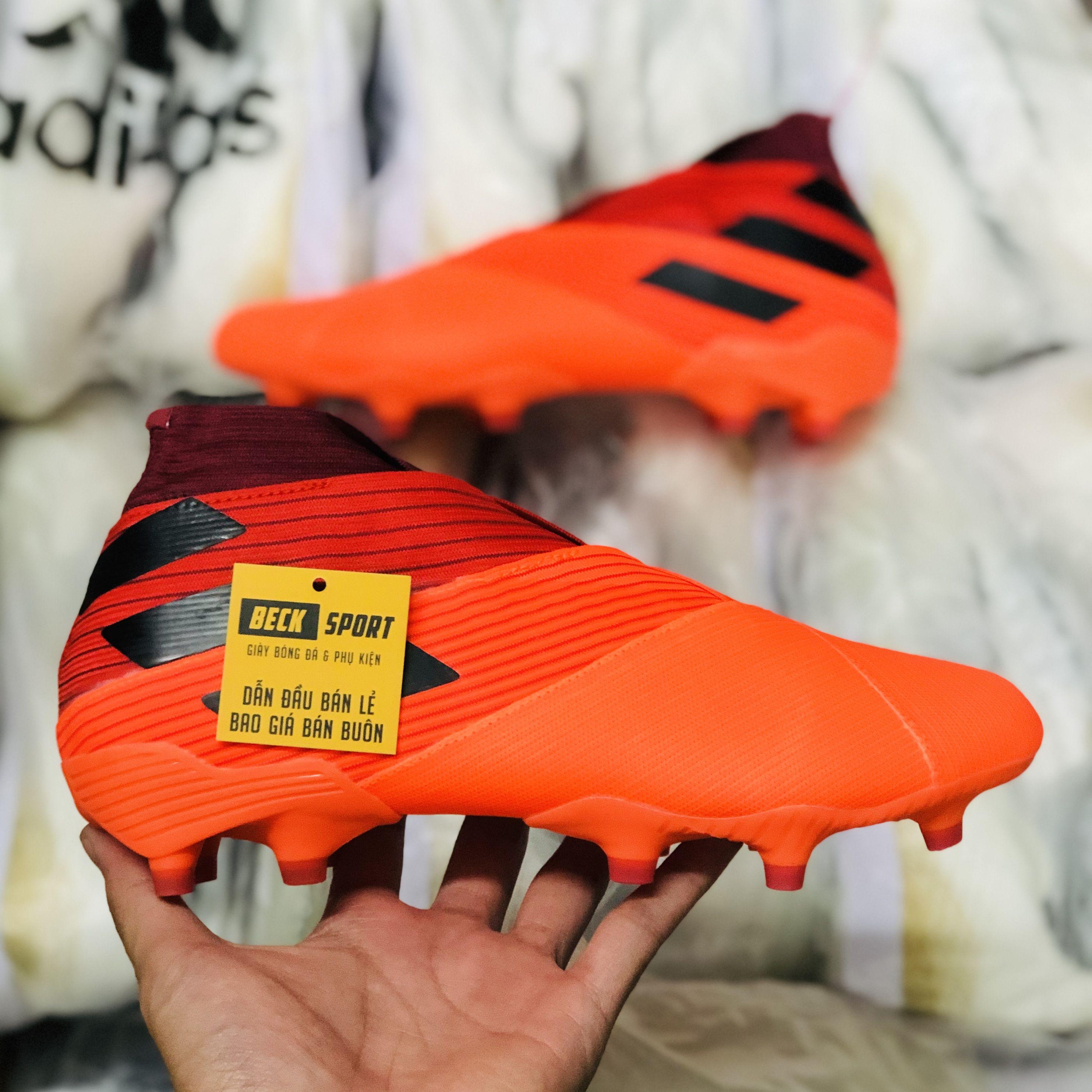 Giày Bóng Đá Adidas Nemeziz 20+ Cam Đỏ Vạch Đen Cổ Cao Không Dây FG