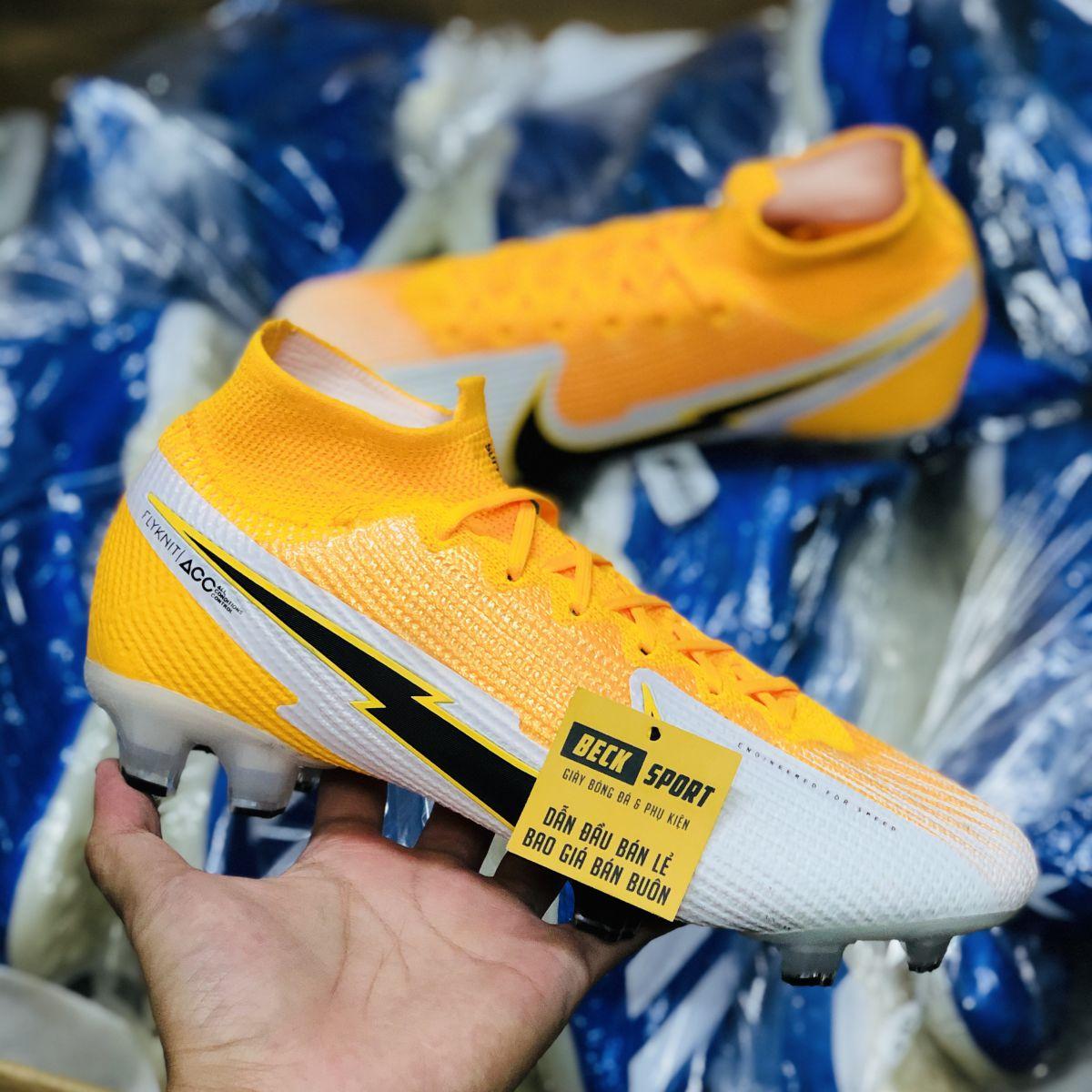 Giày Bóng Đá Nike Mercurial Superfly 7 Elite Cam Trắng Vạch Đen Cao Cổ FG