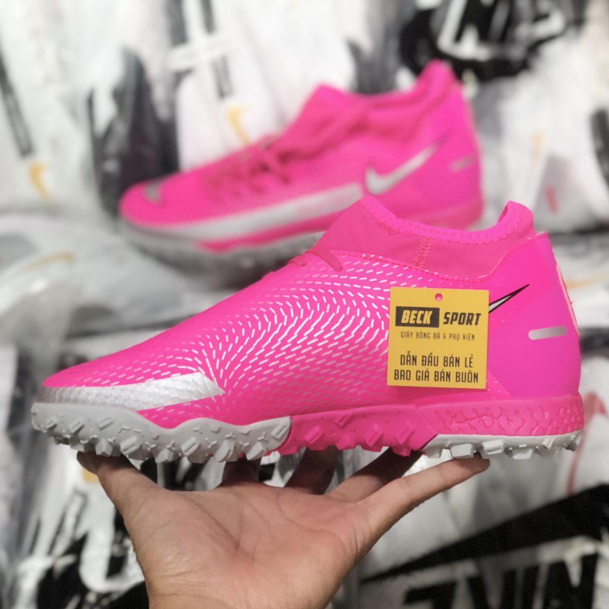 Giày Bóng Đá Nike Phantom GT Academy Hồng Vạch Xám Cổ Cao TF