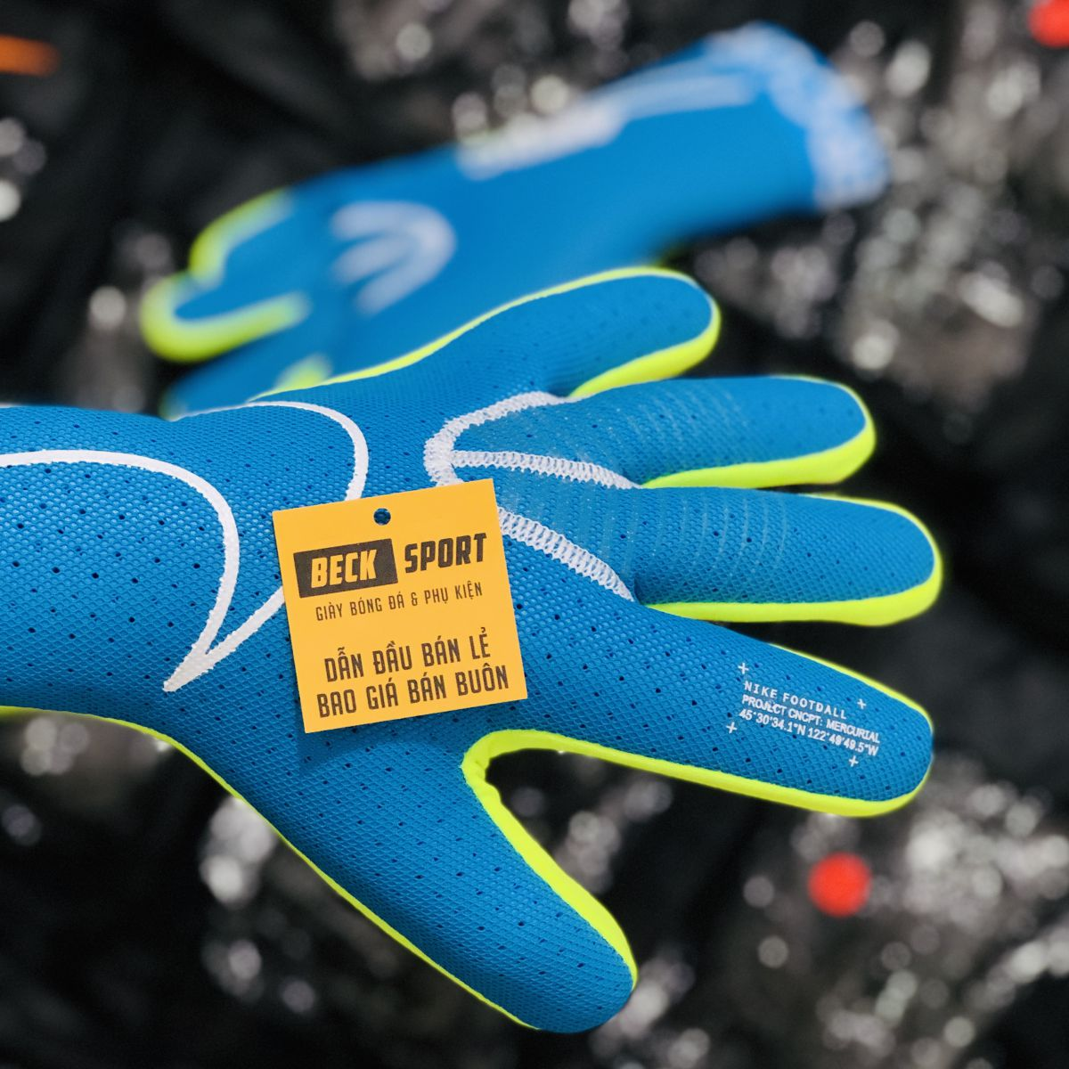 Găng Tay Nike Mercurial Touch Xanh Biển ( Không Xương)