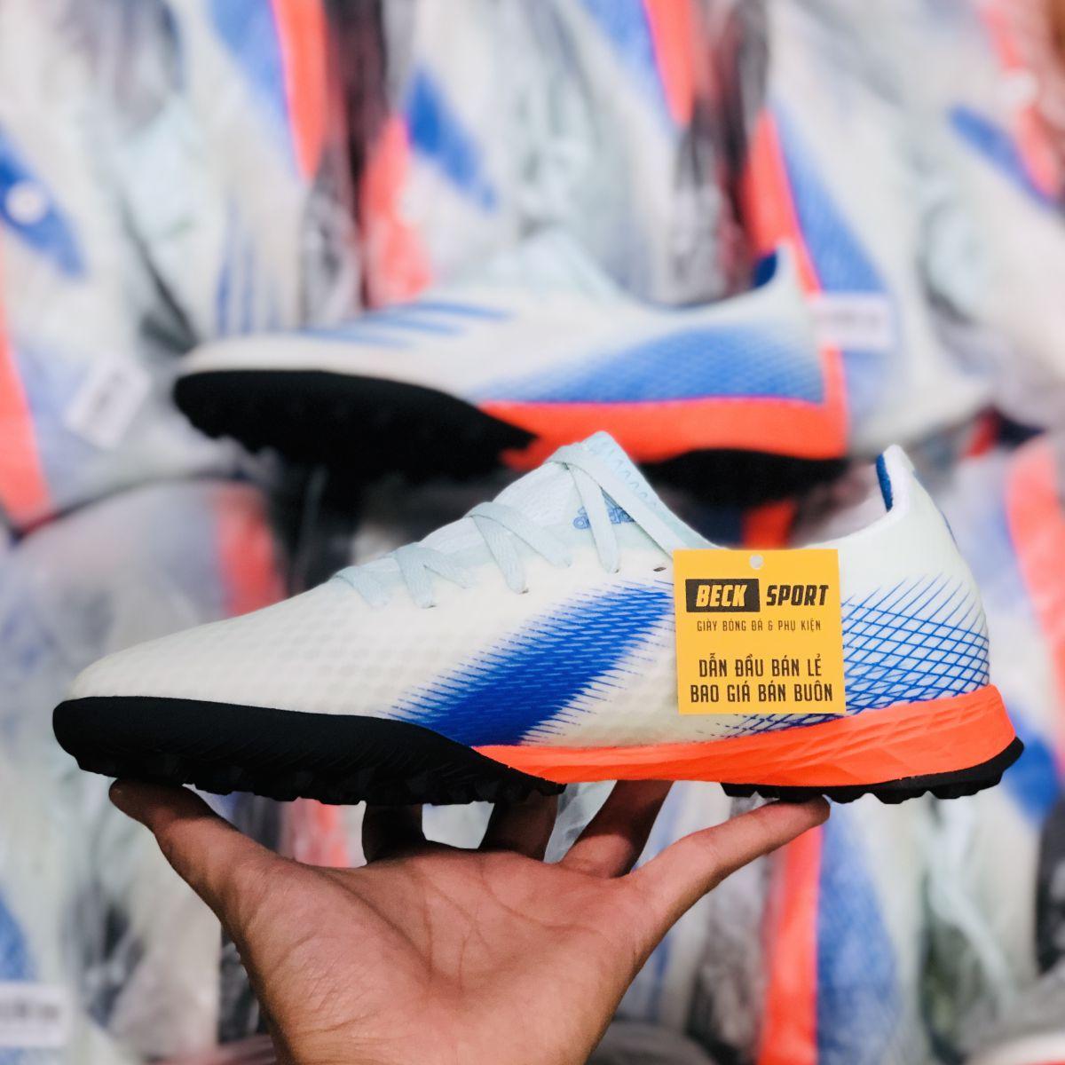 Giày Bóng Đá Adidas X Ghosted.3 Xanh Ngọc Đế Cam HQ TF