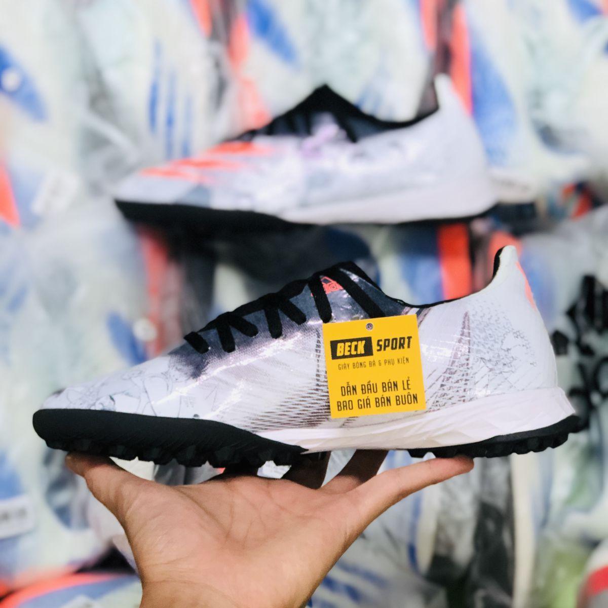 Giày Bóng Đá Adidas X Ghosted.3 Tsubasa Trắng Đen Vạch Cam HQ TF