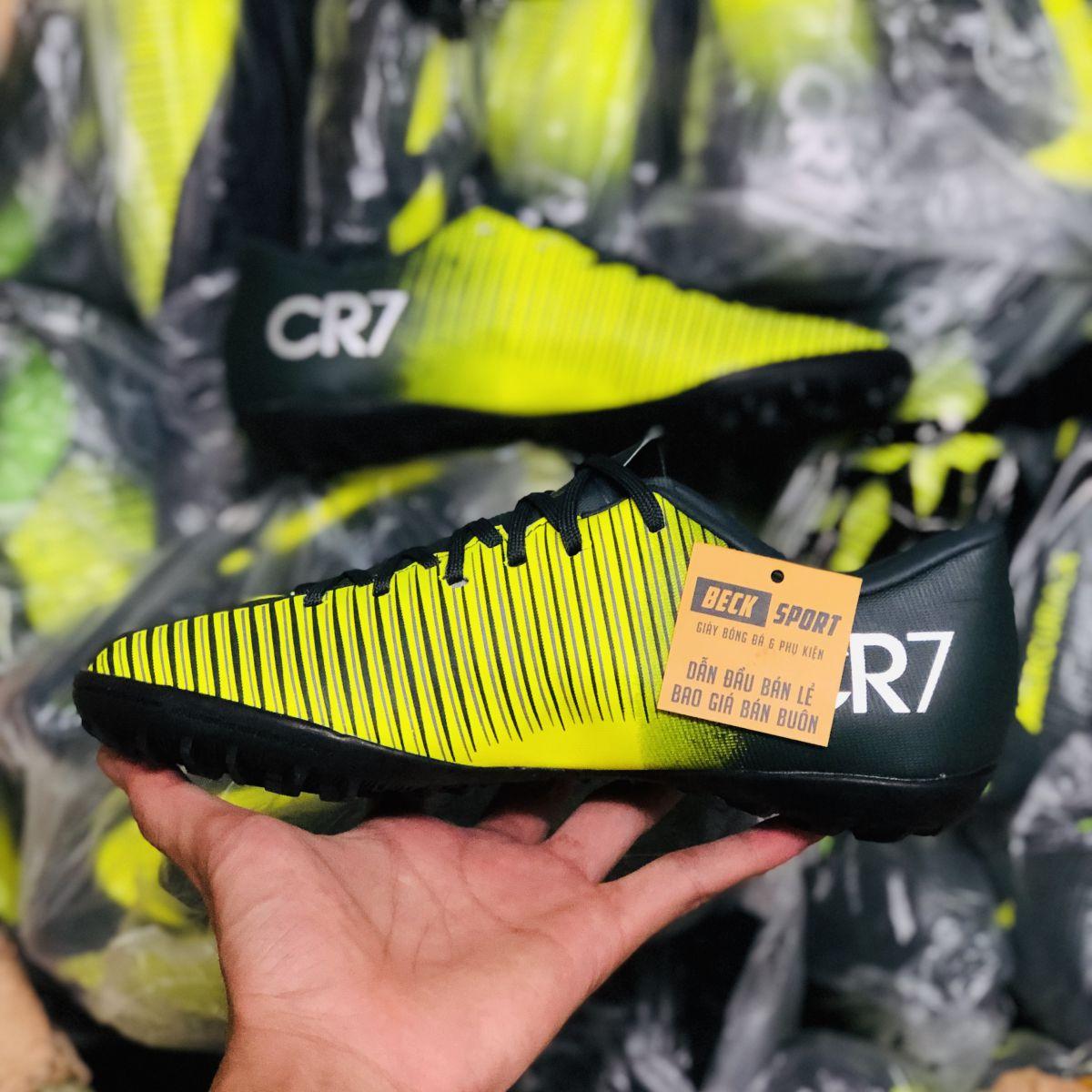 Giày Bóng Đá Nike MercurialX CR7 Đen Nõn Chuối Lưỡi Gà Liền TF