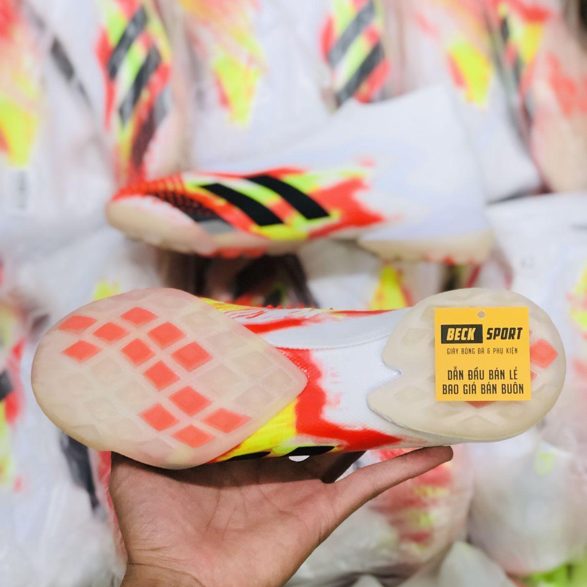 Giày Bóng Đá Adidas Predator 20+ Uniforia Đỏ Vàng Gót Trắng Vạch Đen Không Dây Cao Cổ TF