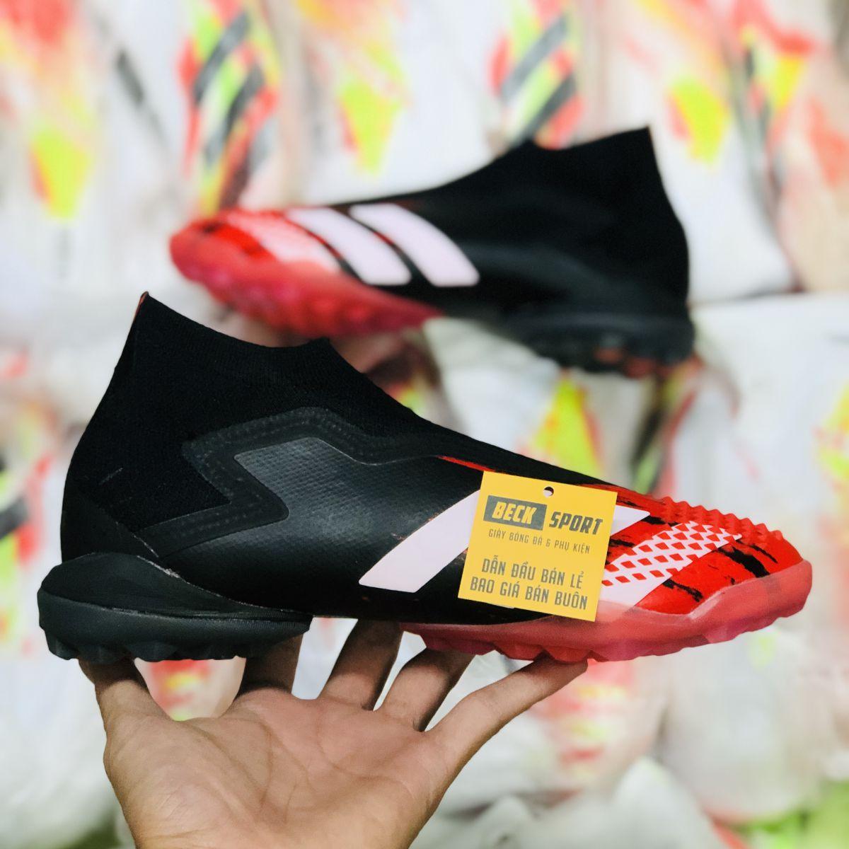 Giày Bóng Đá Adidas Predator 20+ Mutator Đen Mũi Đỏ Vạch Trắng Không Dây Cổ Cao TF