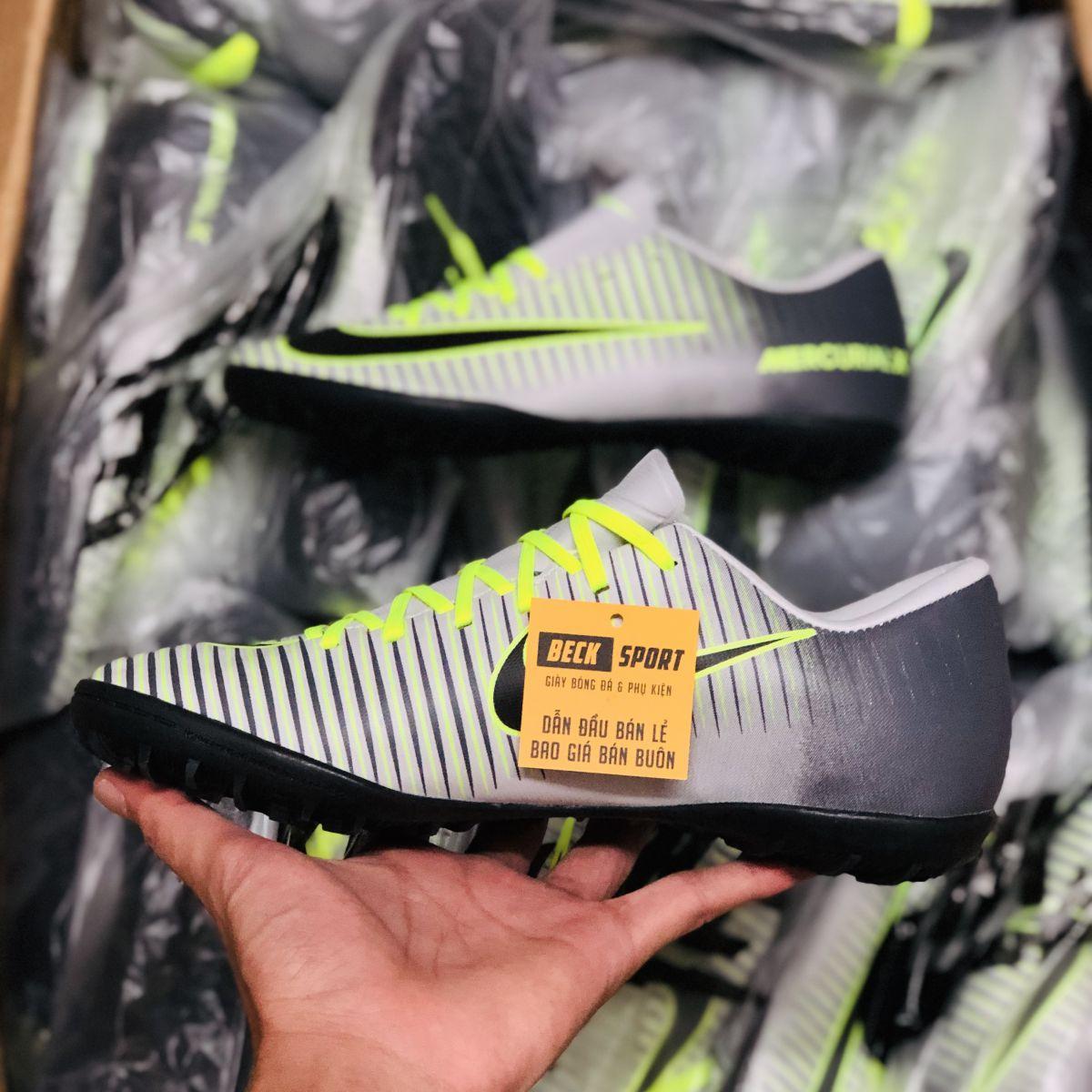 Giày Bóng Đá Nike Mercurial Trắng Gót Xám Lưỡi Gà Liền TF