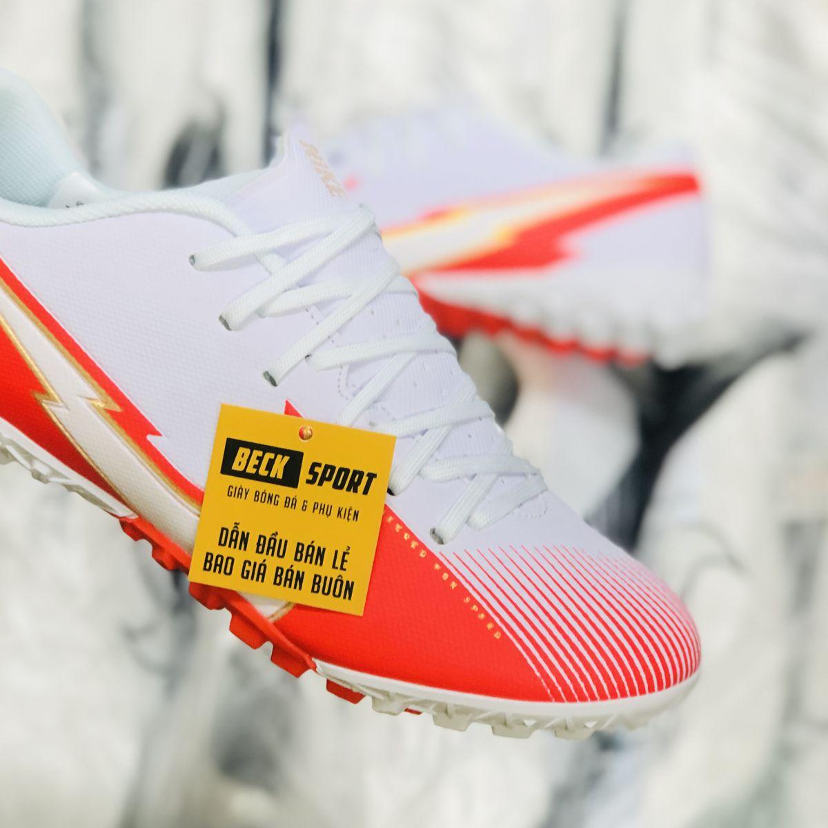 Giày Bóng Đá Nike Mercurial Vapor 13 Academy Trắng Đỏ Vạch Trắng V2 TF