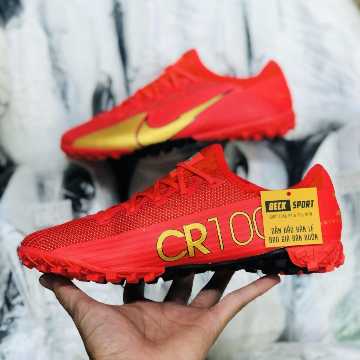 Giày Bóng Đá Nike Mercurial Vapor 13 Pro CR7 Đỏ Vạch Vàng V2 TF