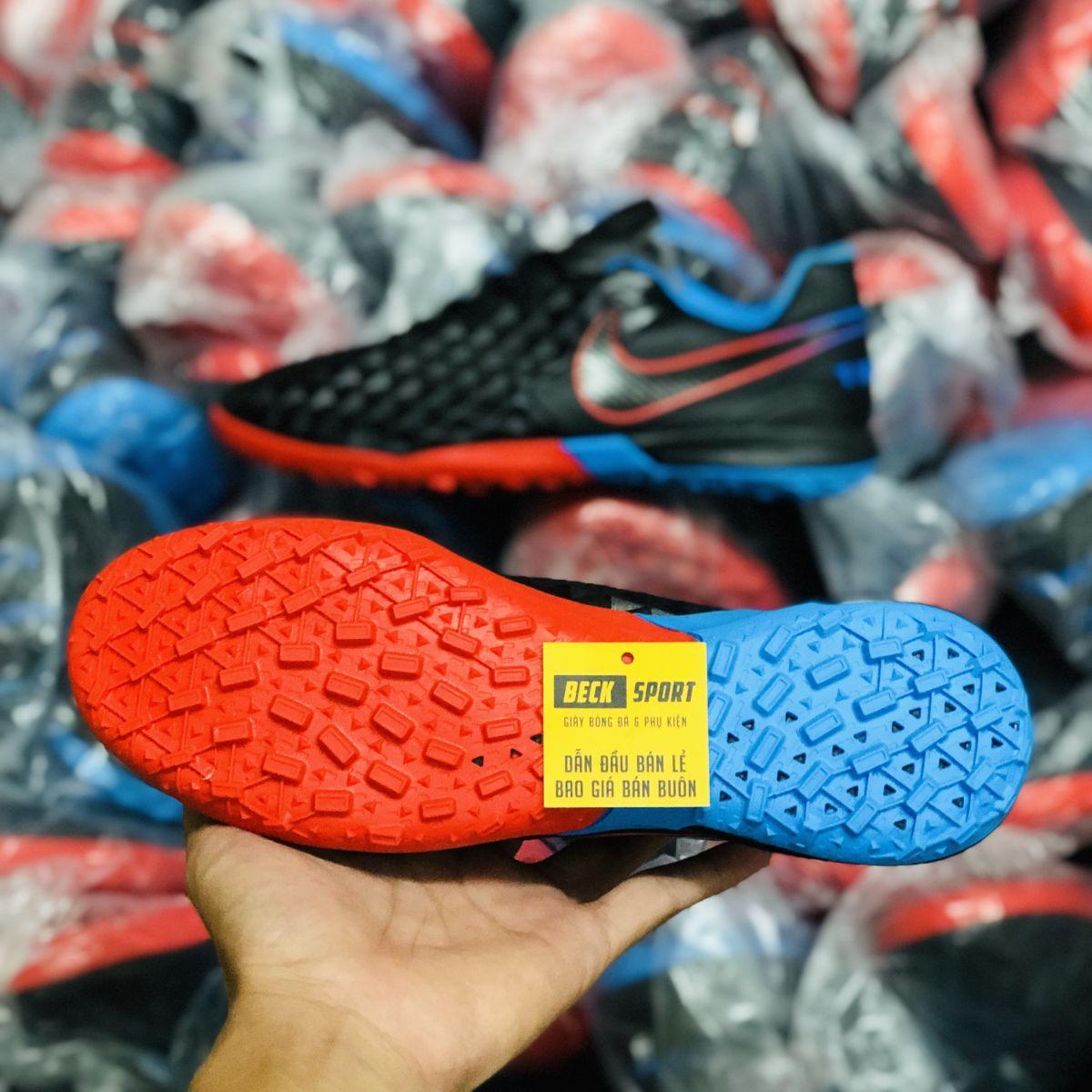 Giày Bóng Đá Nike Tiempo Legend 8 Pro Đen Đế Xanh Biển Đỏ V2 TF