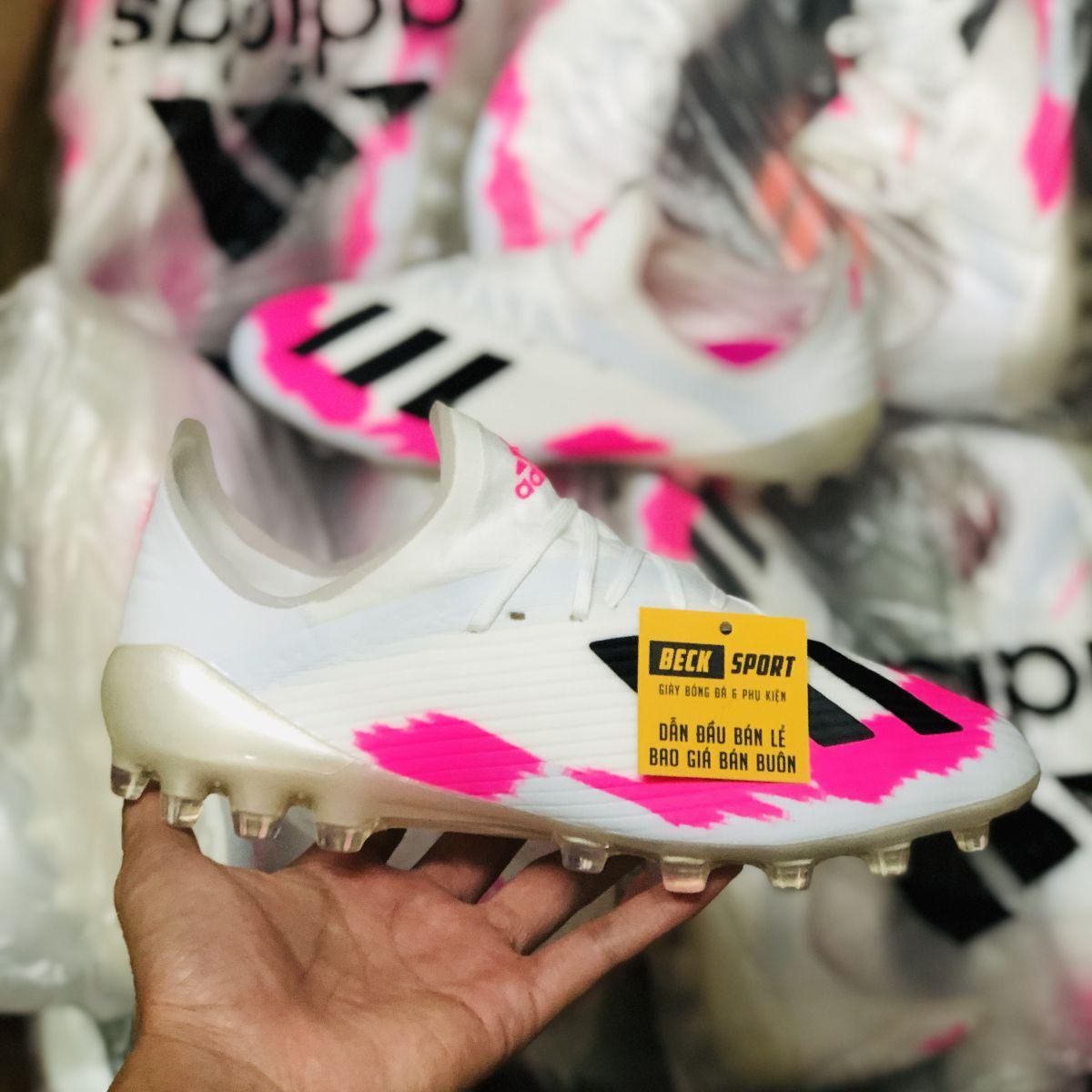 Giày Bóng Đá Adidas X 19.1 Trắng Xám Hồng Vạch Đen AG