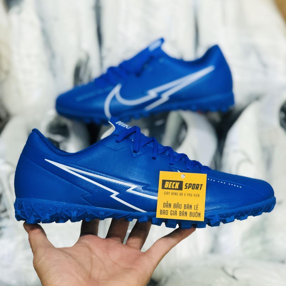 Giày Bóng Đá Nike Mercurial Vapor 13 Academy Xanh Biển Vạch Trắng V3 TF