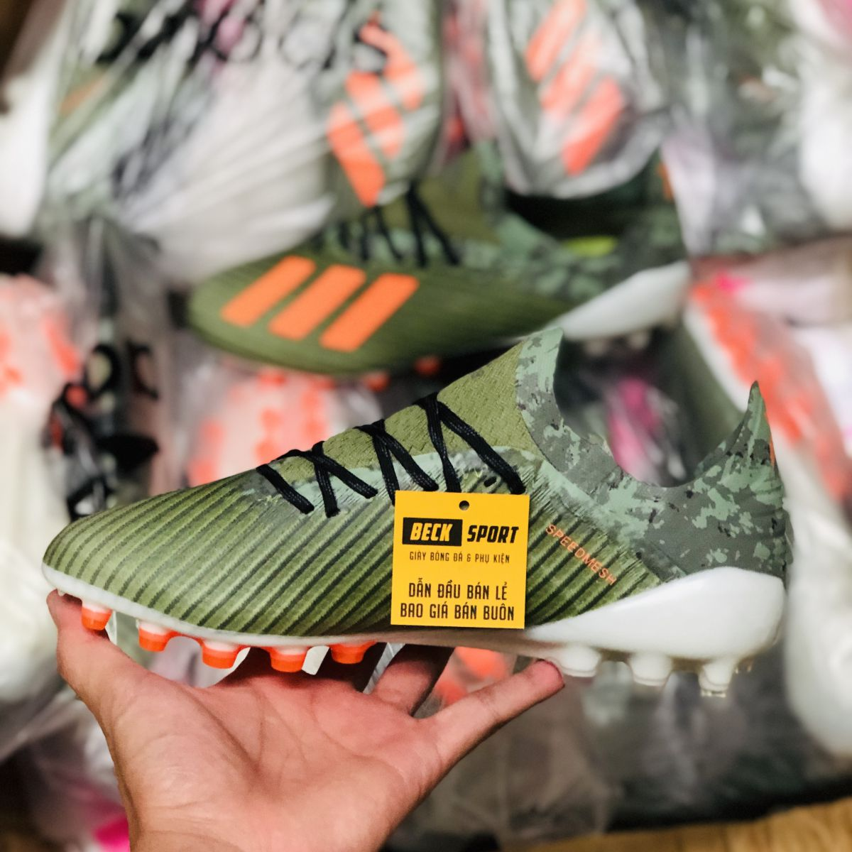 Giày Bóng Đá Adidas X 19.1 Xanh Rêu Vạch Cam AG