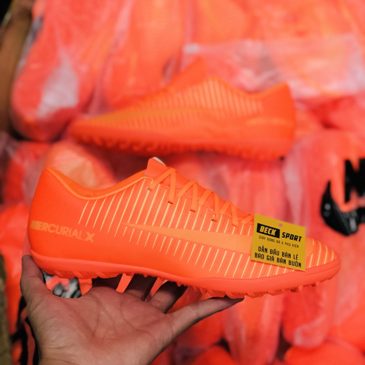 Giày Bóng Đá Nike MercurialX Full Cam Lưỡi Gà Liền TF