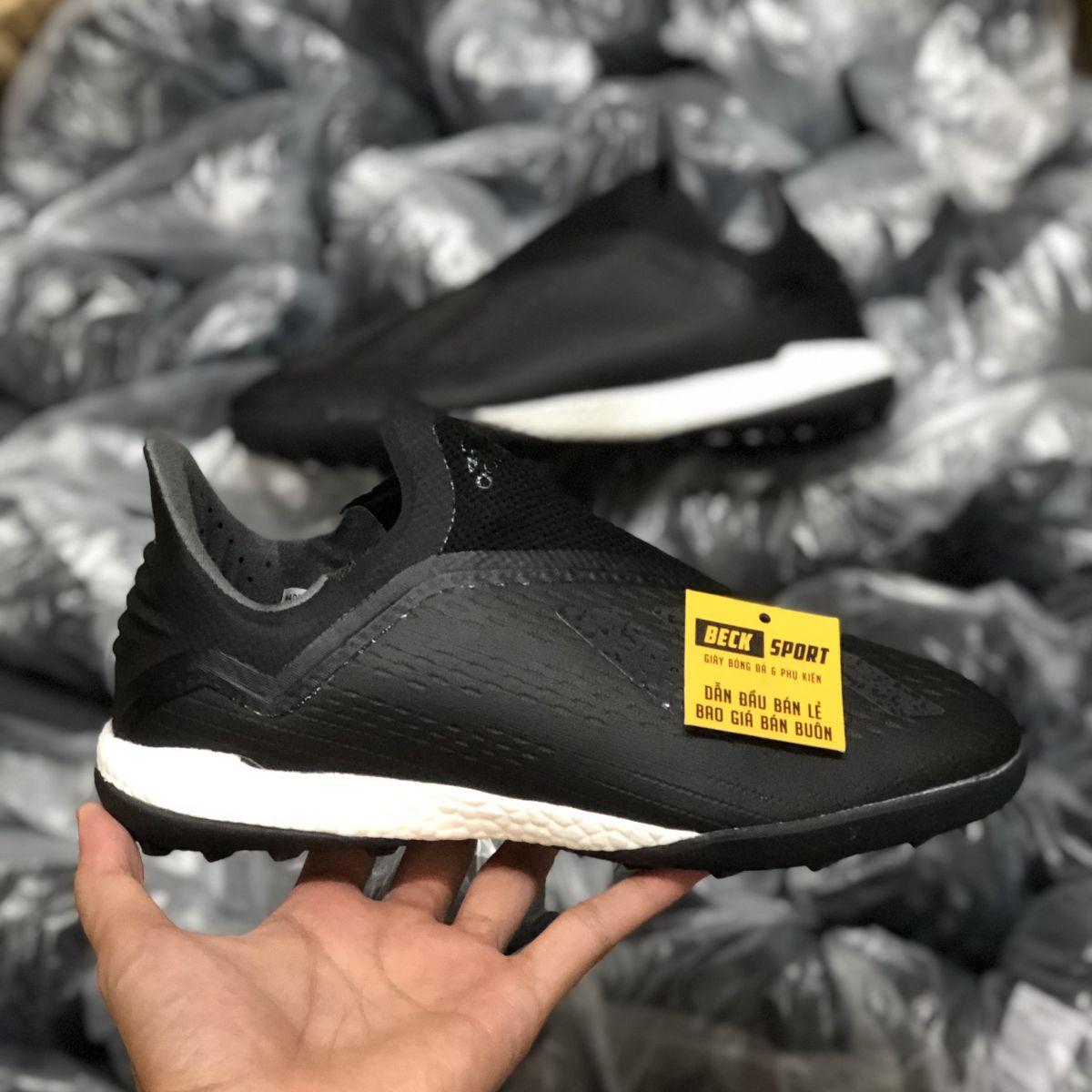Giày Bóng Đá Adidas X 18+ Đen Tuyền Không Dây TF