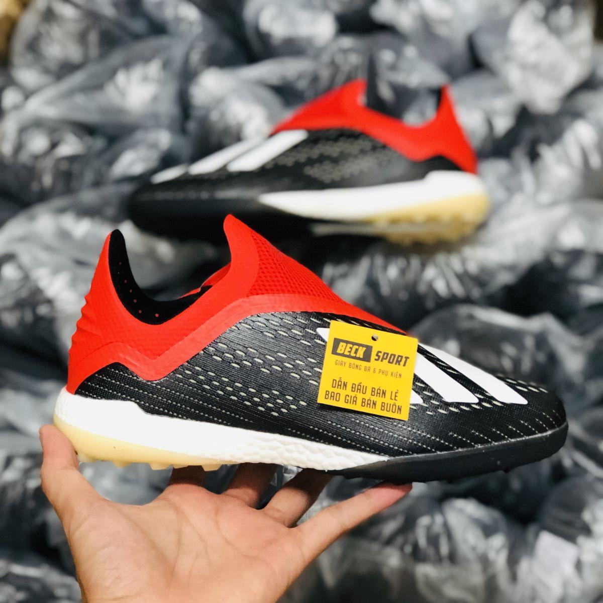Giày Bóng Đá Adidas X 18+ Đen Đỏ Vạch Trắng Không Dây TF