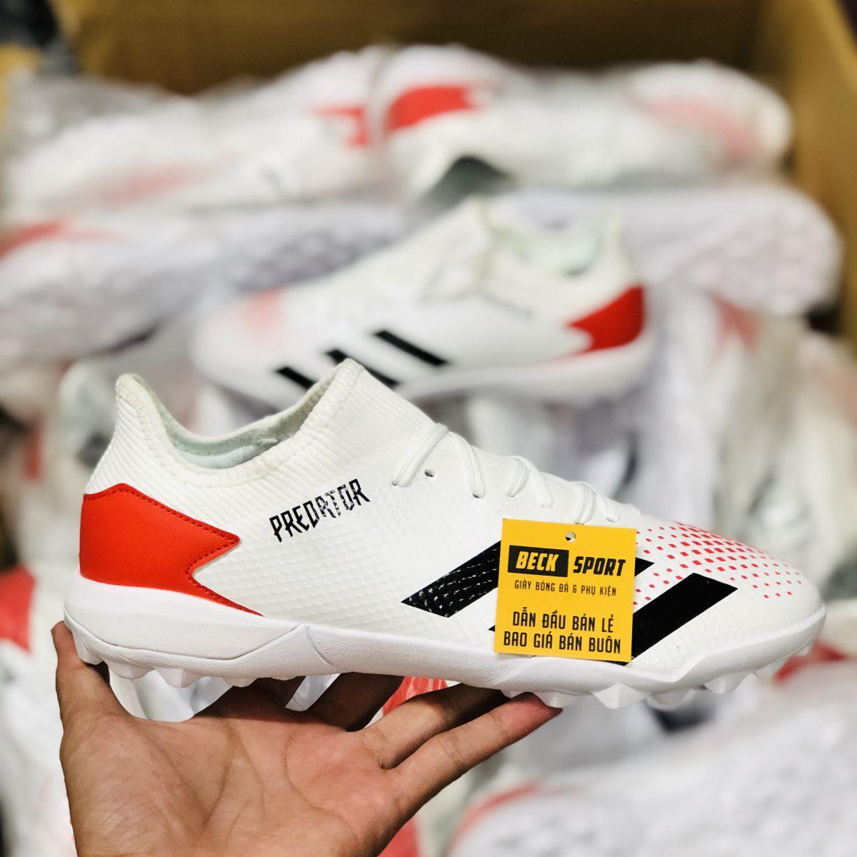 Giày Bóng Đá Adidas Predator 20.3 Trắng Vạch Đen Gót Đỏ HQ TF