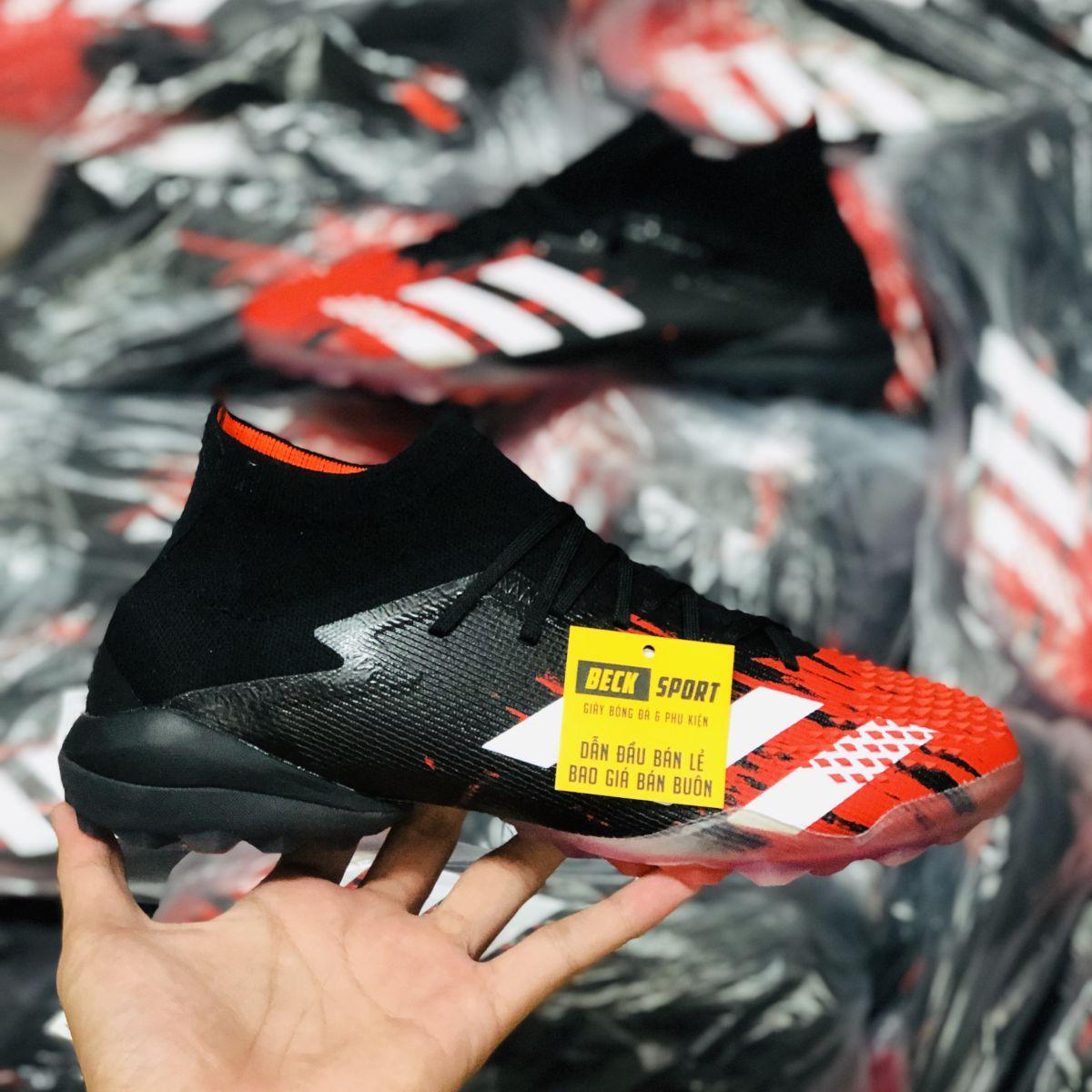 Giày Bóng Đá Adidas Predator 20.1 Mutator Đen Mũi Đỏ Vạch Trắng Cổ Cao TF