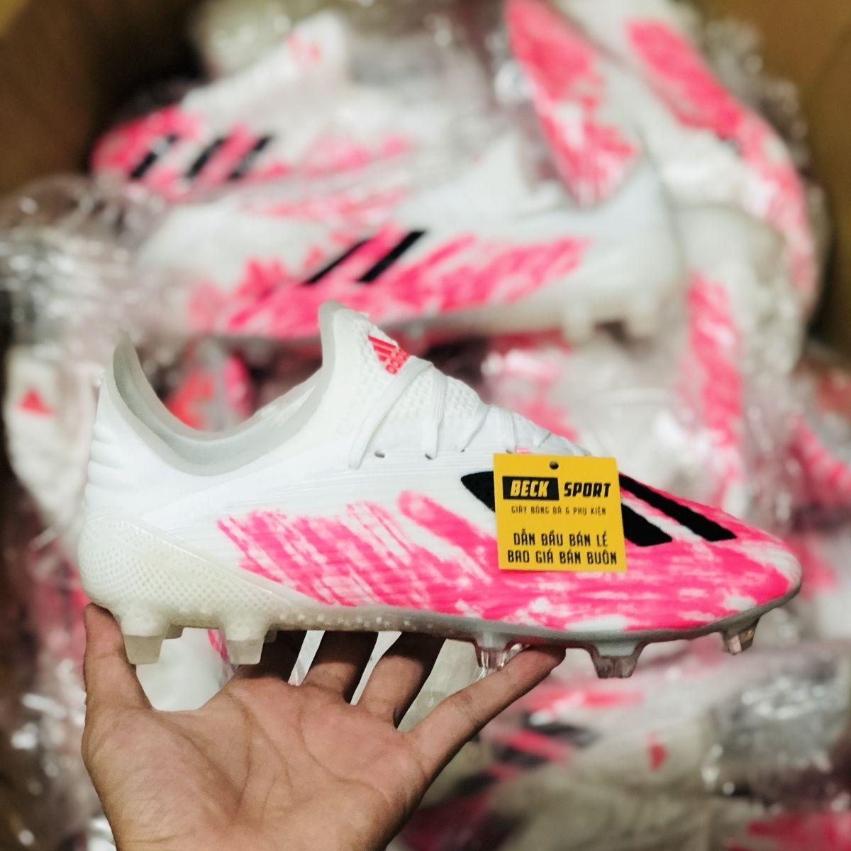 Giày Bóng Đá Adidas X 19.1 Trắng Hồng Vạch Đen FG
