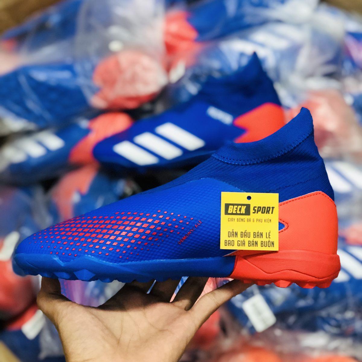 Giày Bóng Đá Adidas Predator 20.3 LL Tormentor Xanh Biển Vạch Trắng Mũi Đỏ Không Dây Cao Cổ TF
